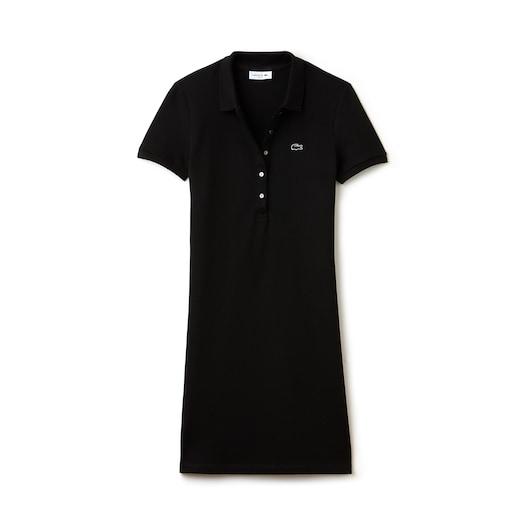 라코스테 우먼 폴로 원피스 Lacoste Womens Stretch Cotton Mini Pique Polo Dress,Black - 031