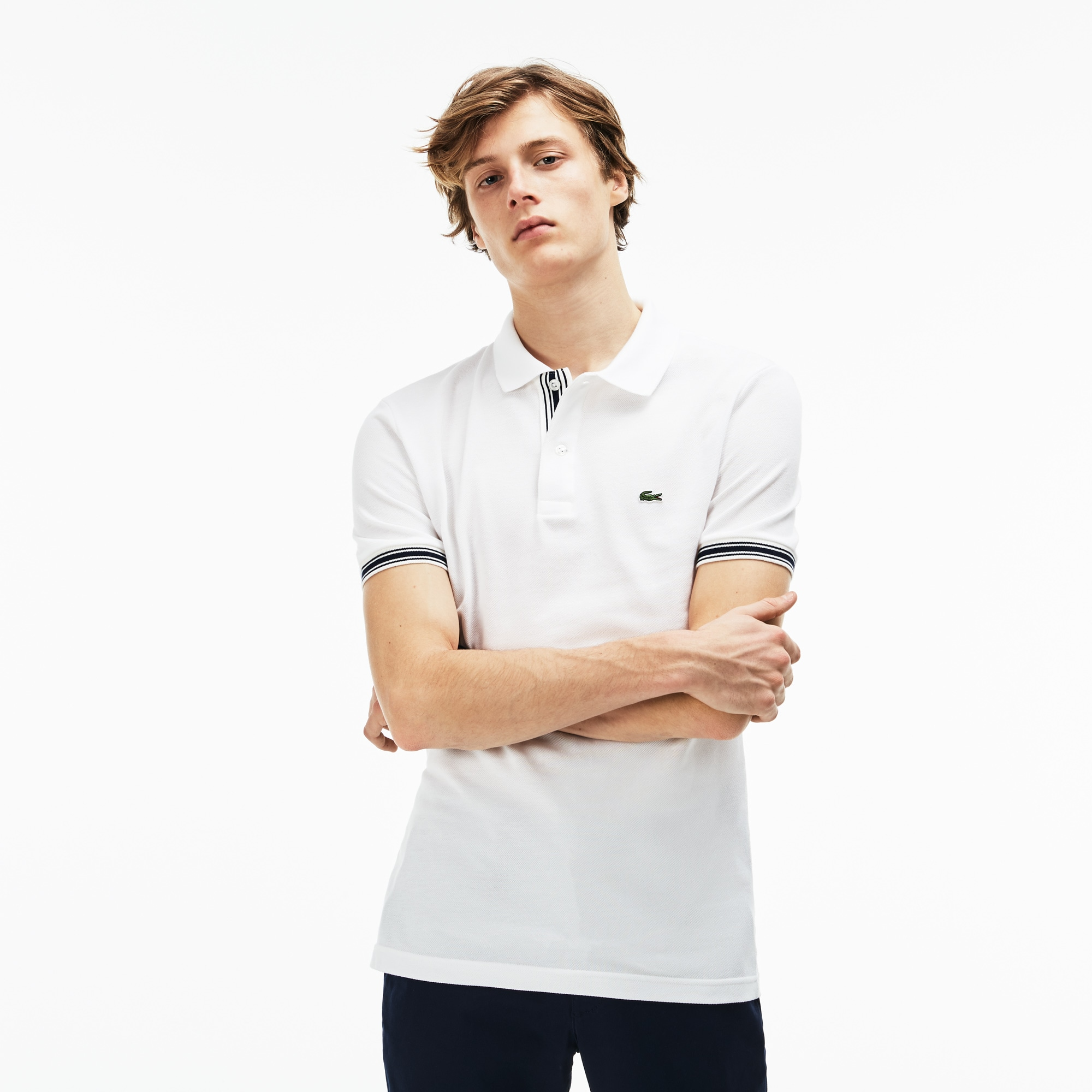 Men's Slim Fit Piped Sleeves Petit Piqué Polo