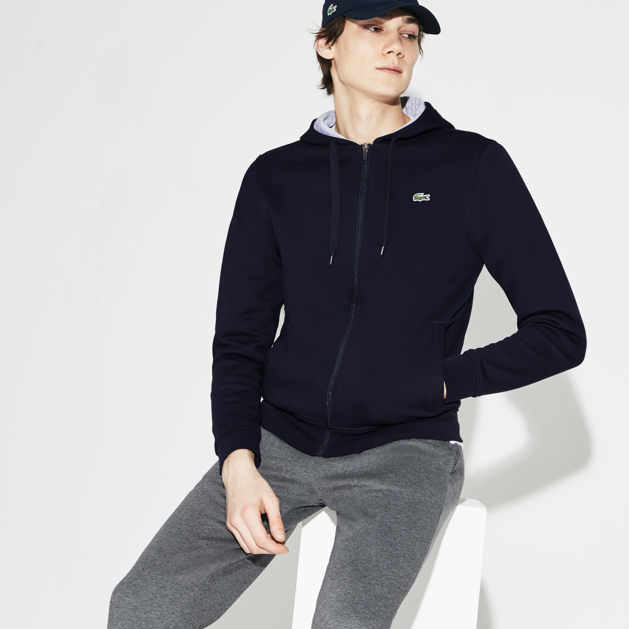 Men's SPORT Tennis hooded zippered sweatshirt in fleece