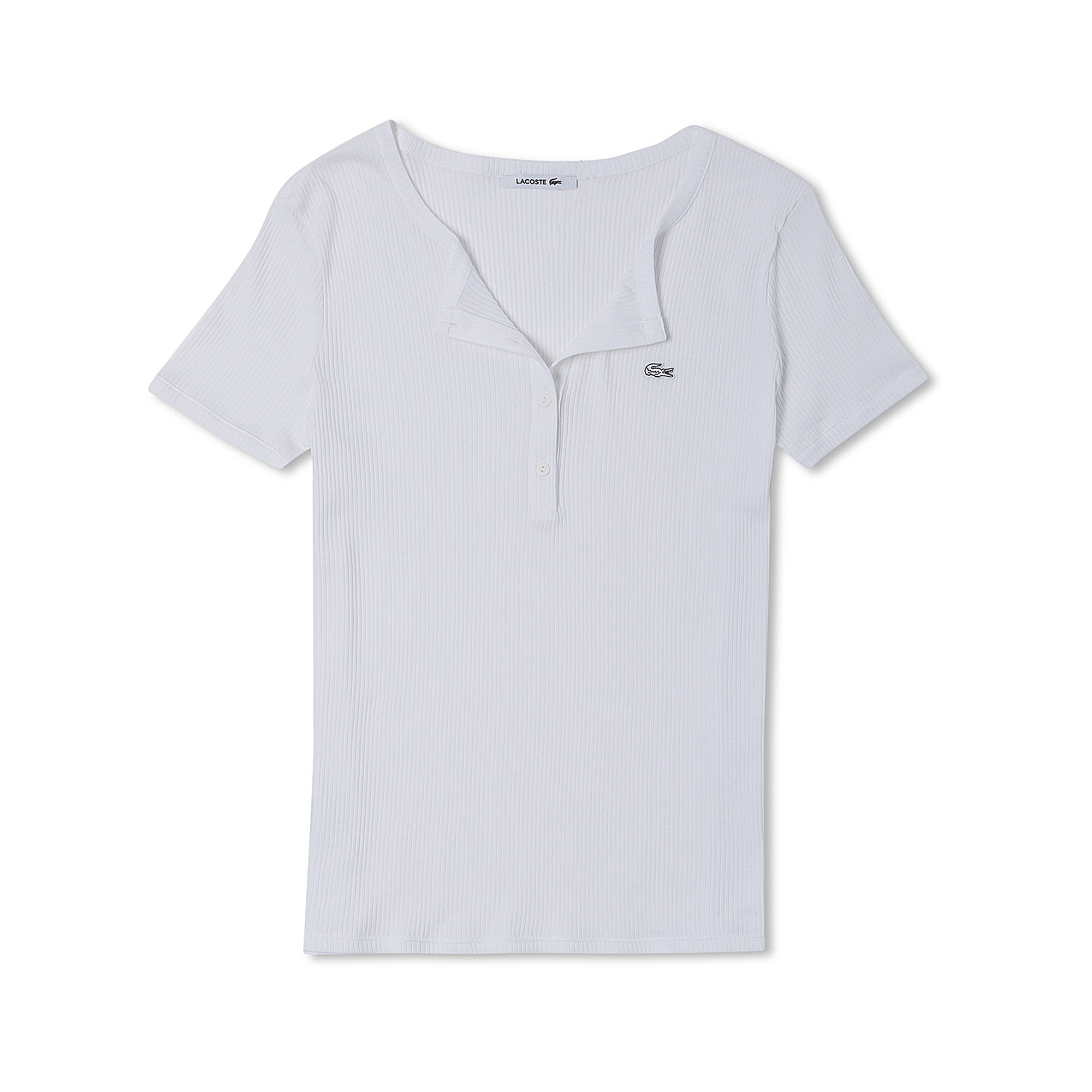 womenu0027s buttoned ribbed crew neck cotton blend tshirt