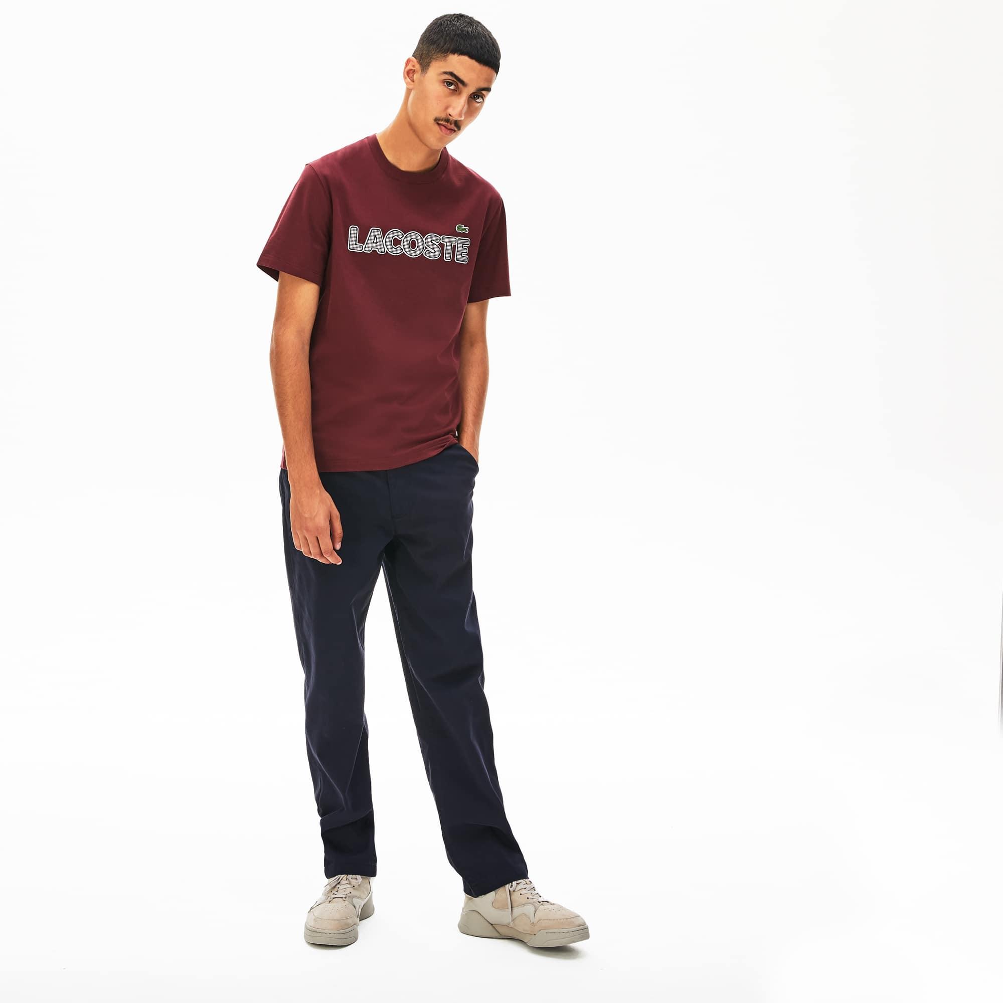 Lacoste Mens Crewneck Checkered-Logo Cotton T-Shirt