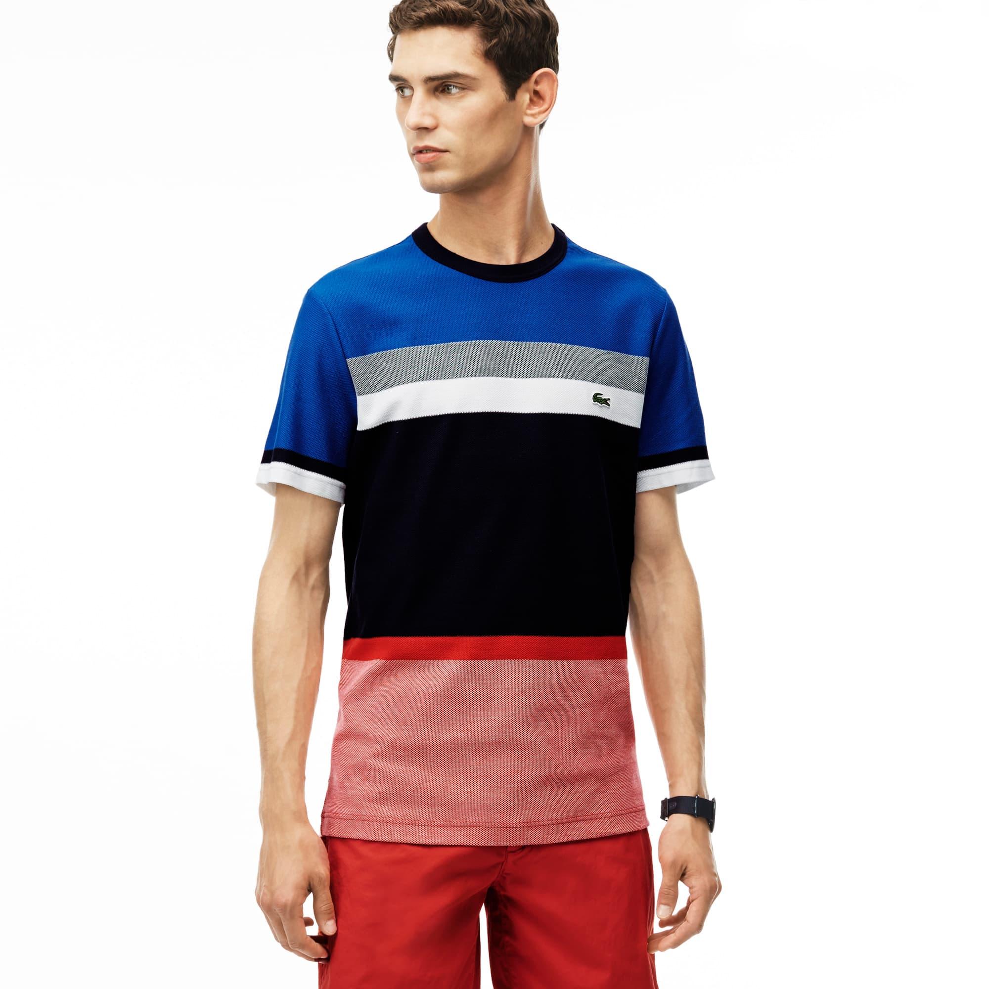 Men's Honeycomb Jersey Crew Neck Colorblock T-Shirt