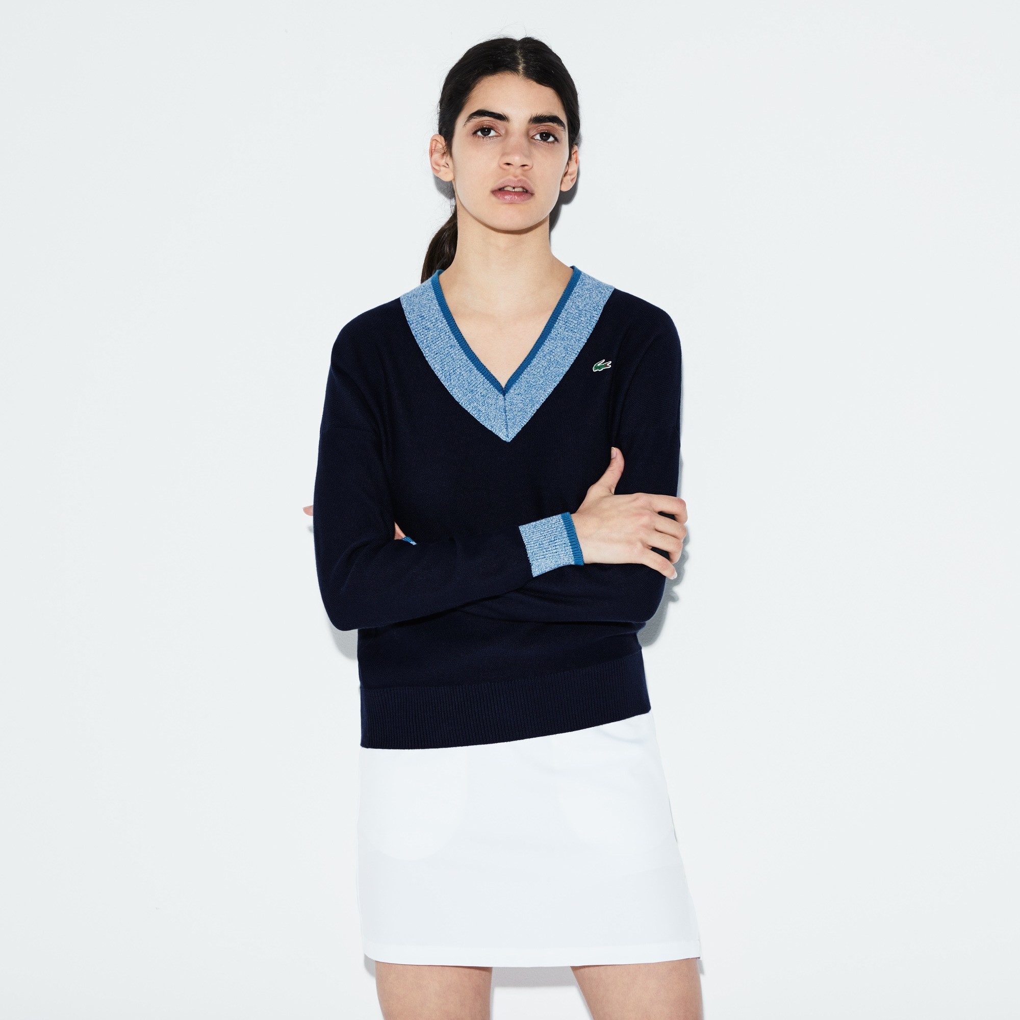 Women's SPORT V-neck Contrast Finish Jersey Golf Sweater
