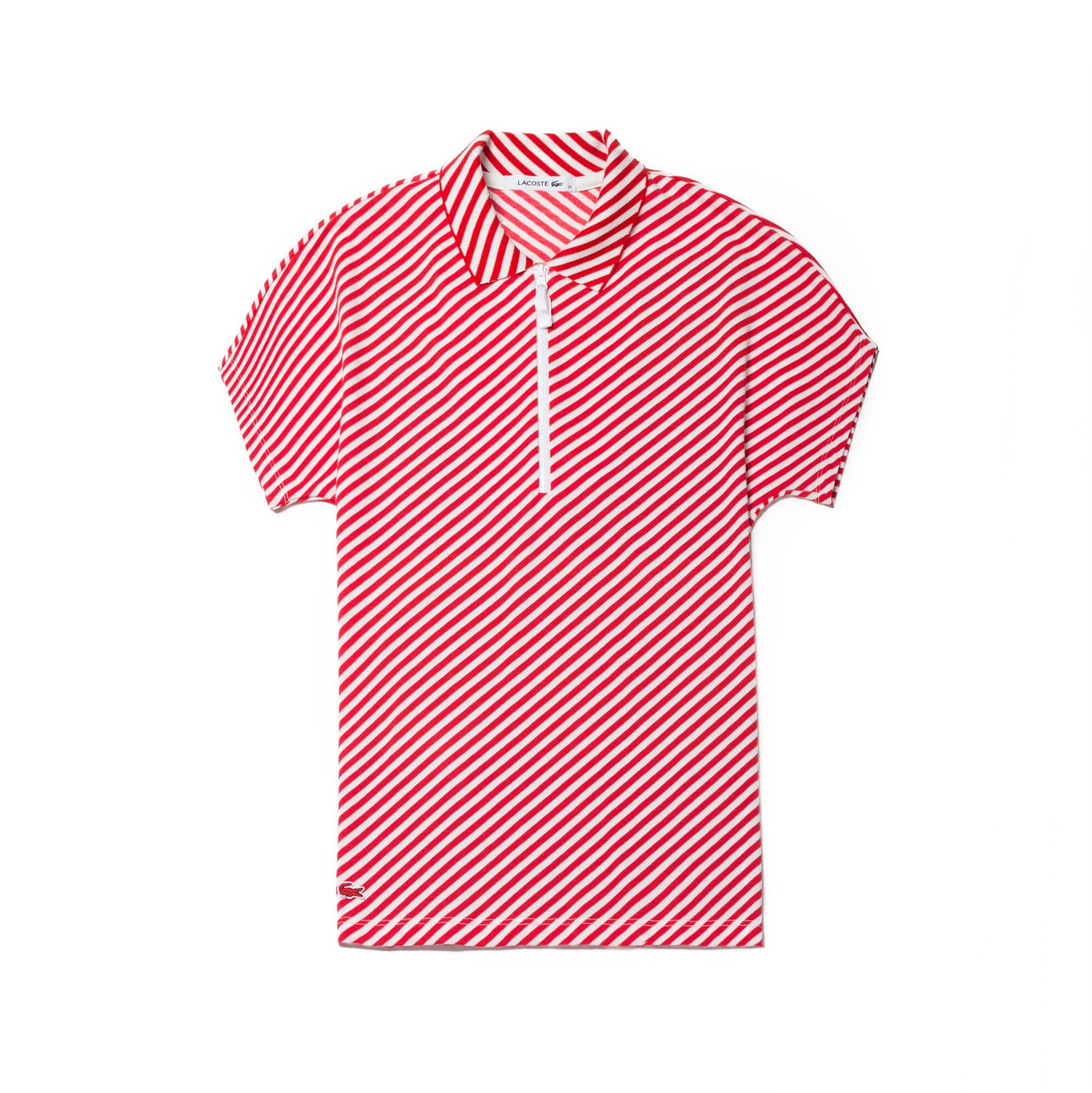 Women's Zip Neck Diagonal Stripe Print Stretch Petit Piqué Polo Shirt