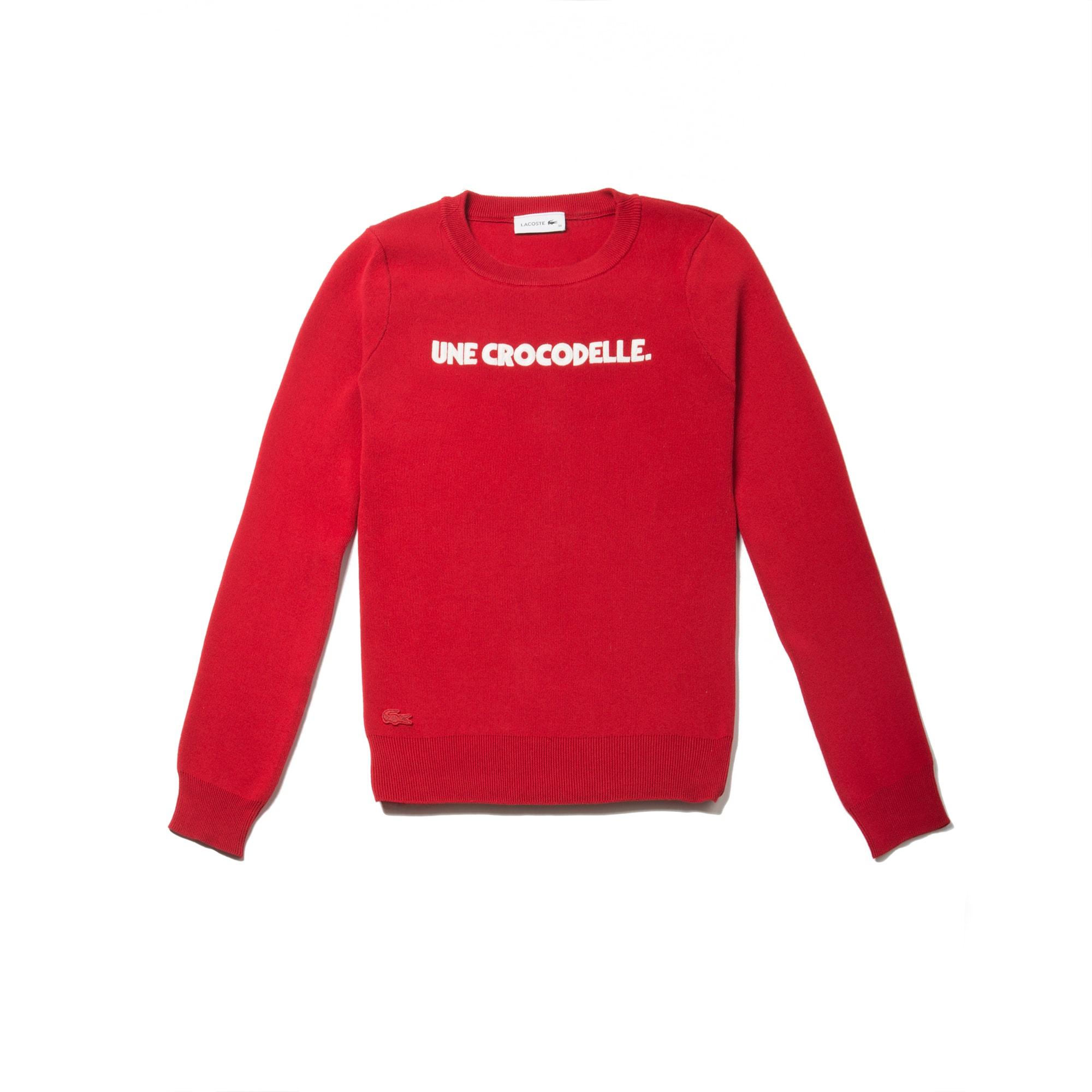 Women's Crew Neck Une Crocodelle Embroidery Interlock Sweater