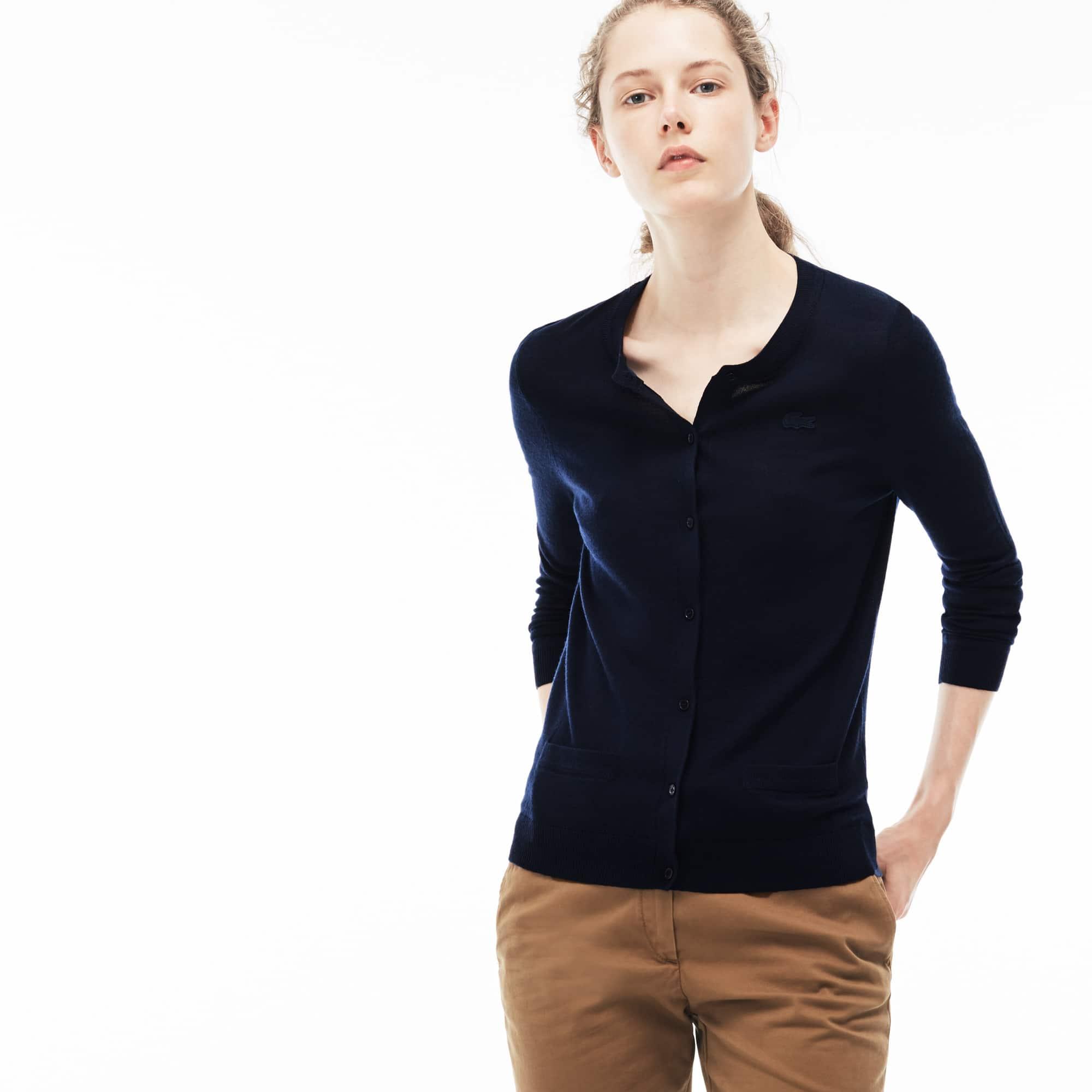 Women's Crew Neck Wool Jersey Cardigan