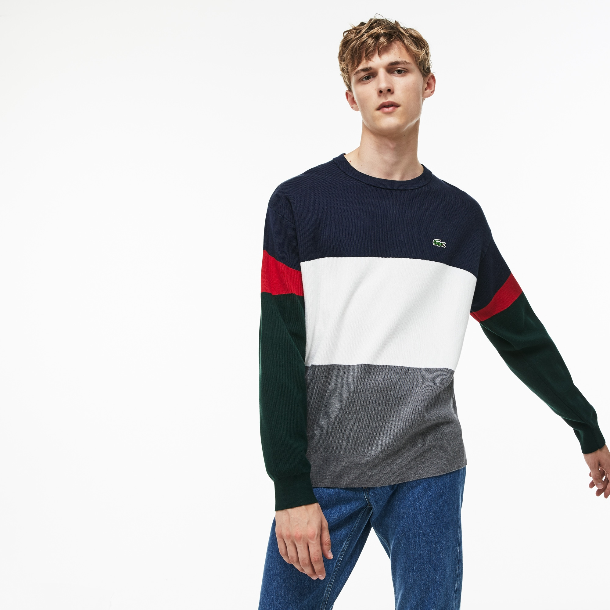 Men's Crew Neck Colorblock Flat Ribbed Cotton Sweater