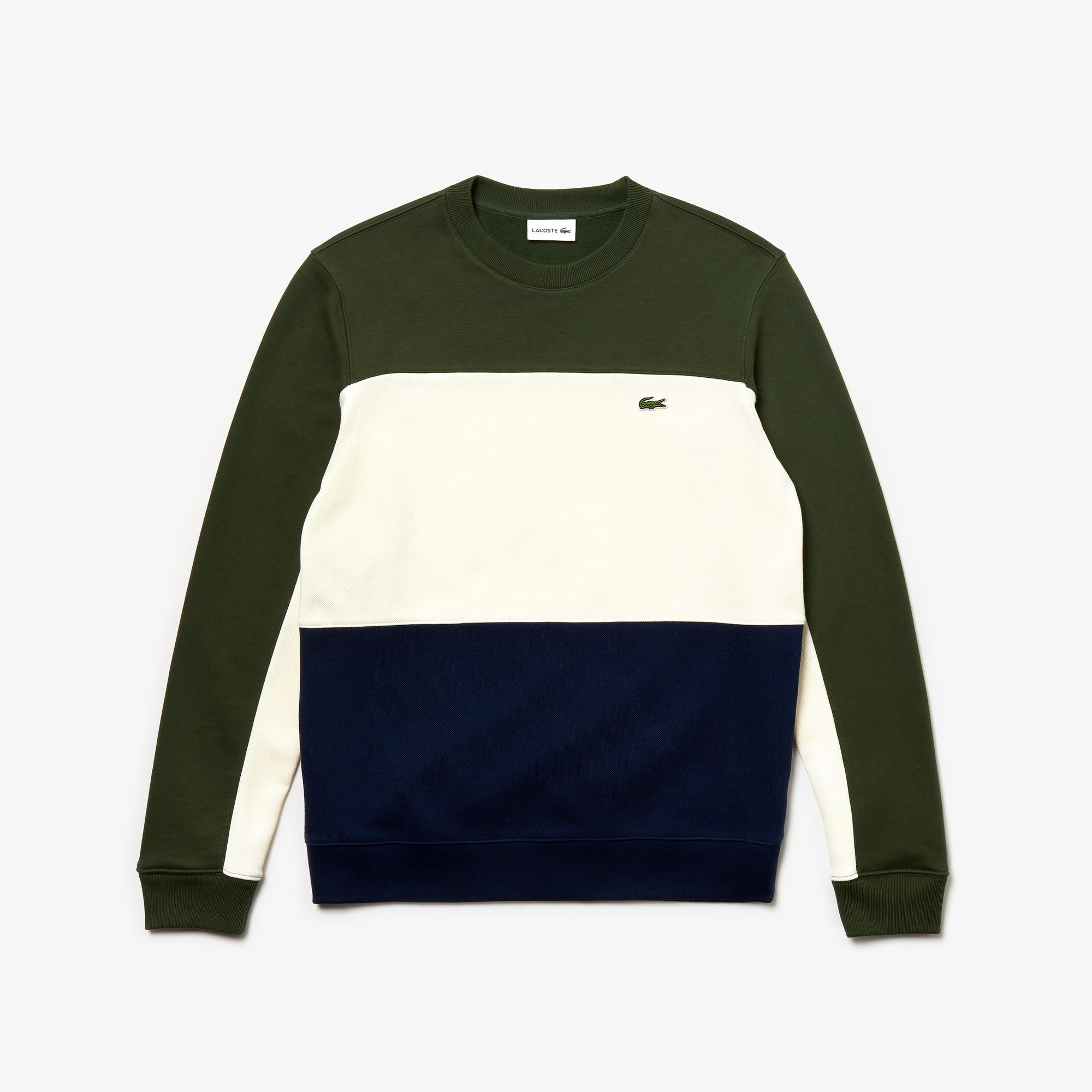 라코스테 Lacoste Mens Crew Neck Colorblock Pique Fleece Sweatshirt,navy blue / white / khaki green