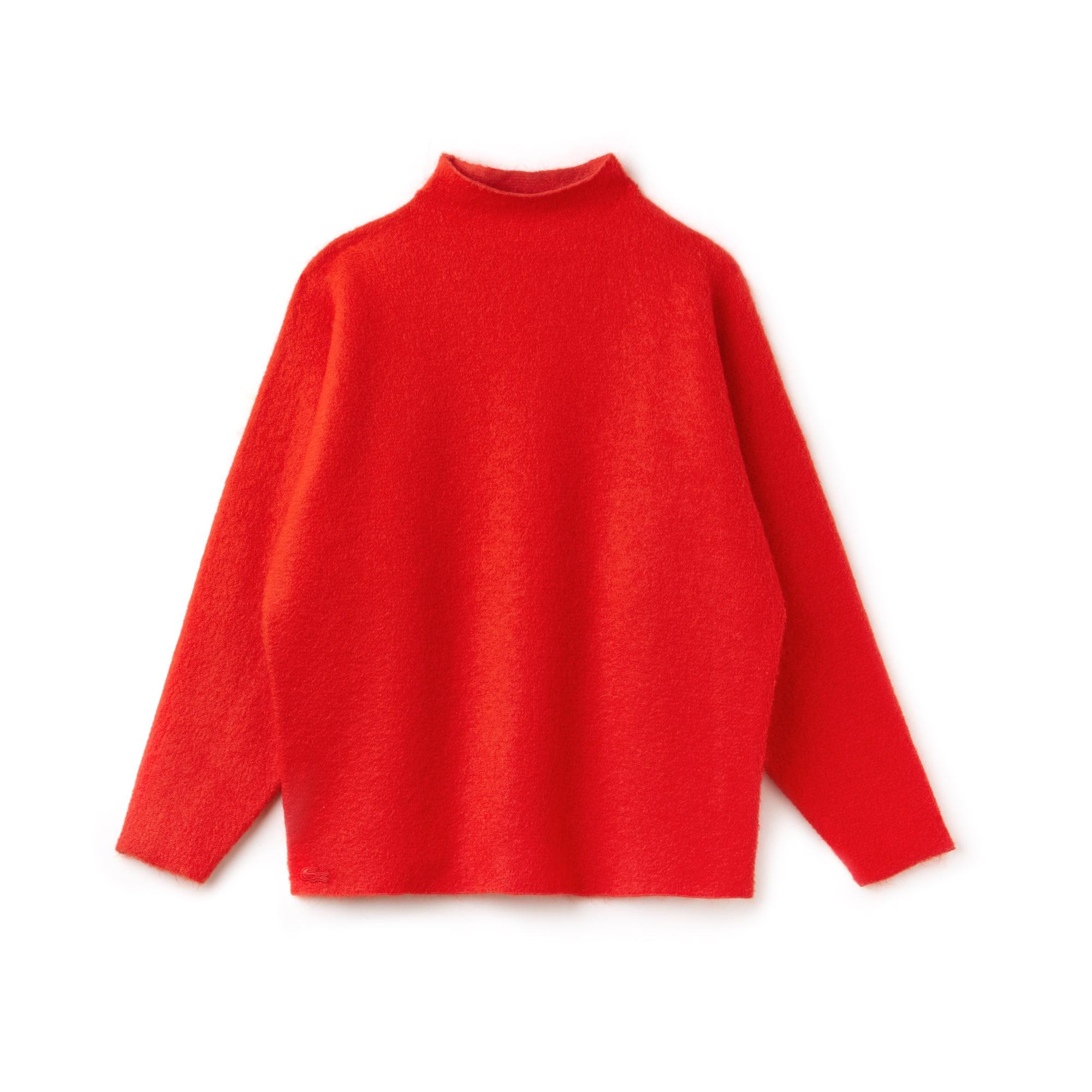 라코스테 우먼 모헤어 혼방 하이넥 스웨터 레드 Lacoste Womens Stand-Up Collar Mohair Blend Jersey Sweater,POMEGRENATE