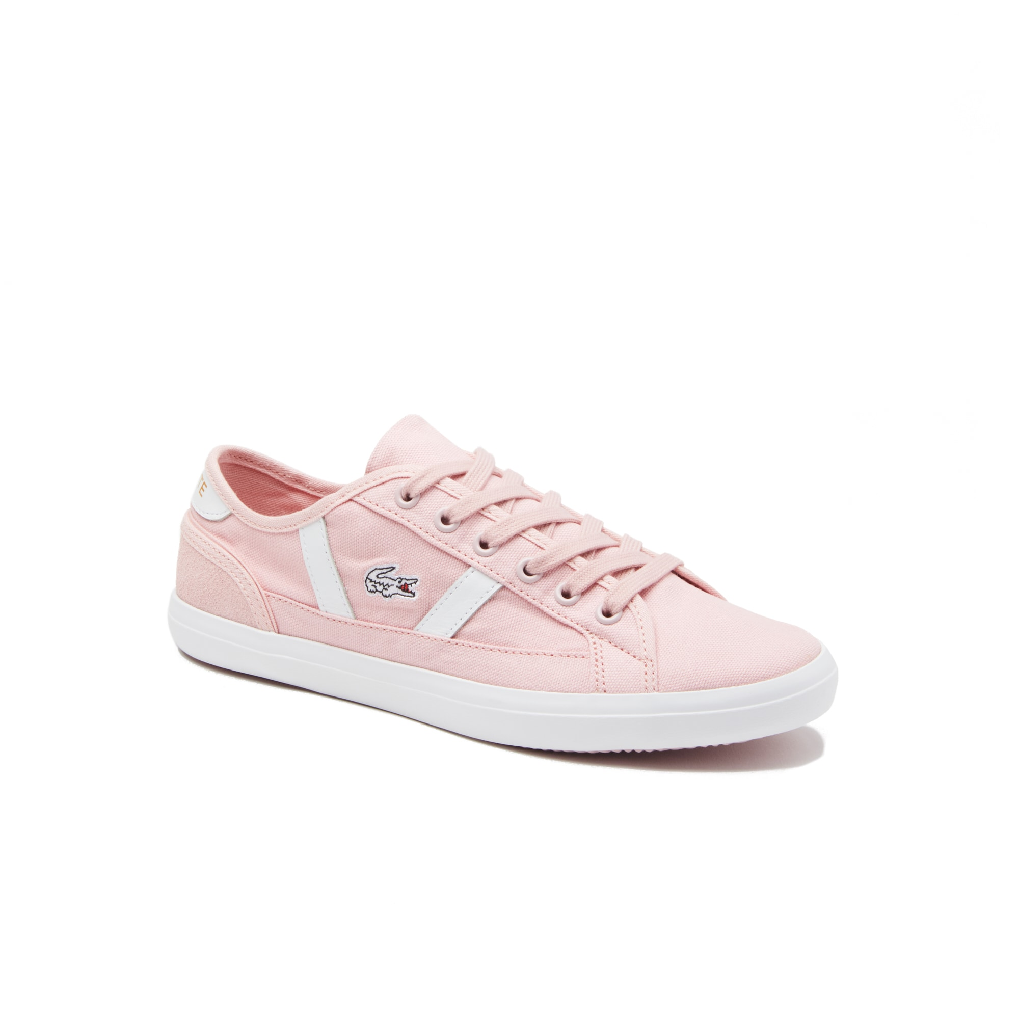 라코스테 우먼 사이드라인 스니커즈 - 라이트 핑크/화이트 Lacoste Womens Sideline Canvas and Leather Trainers,light pink/white