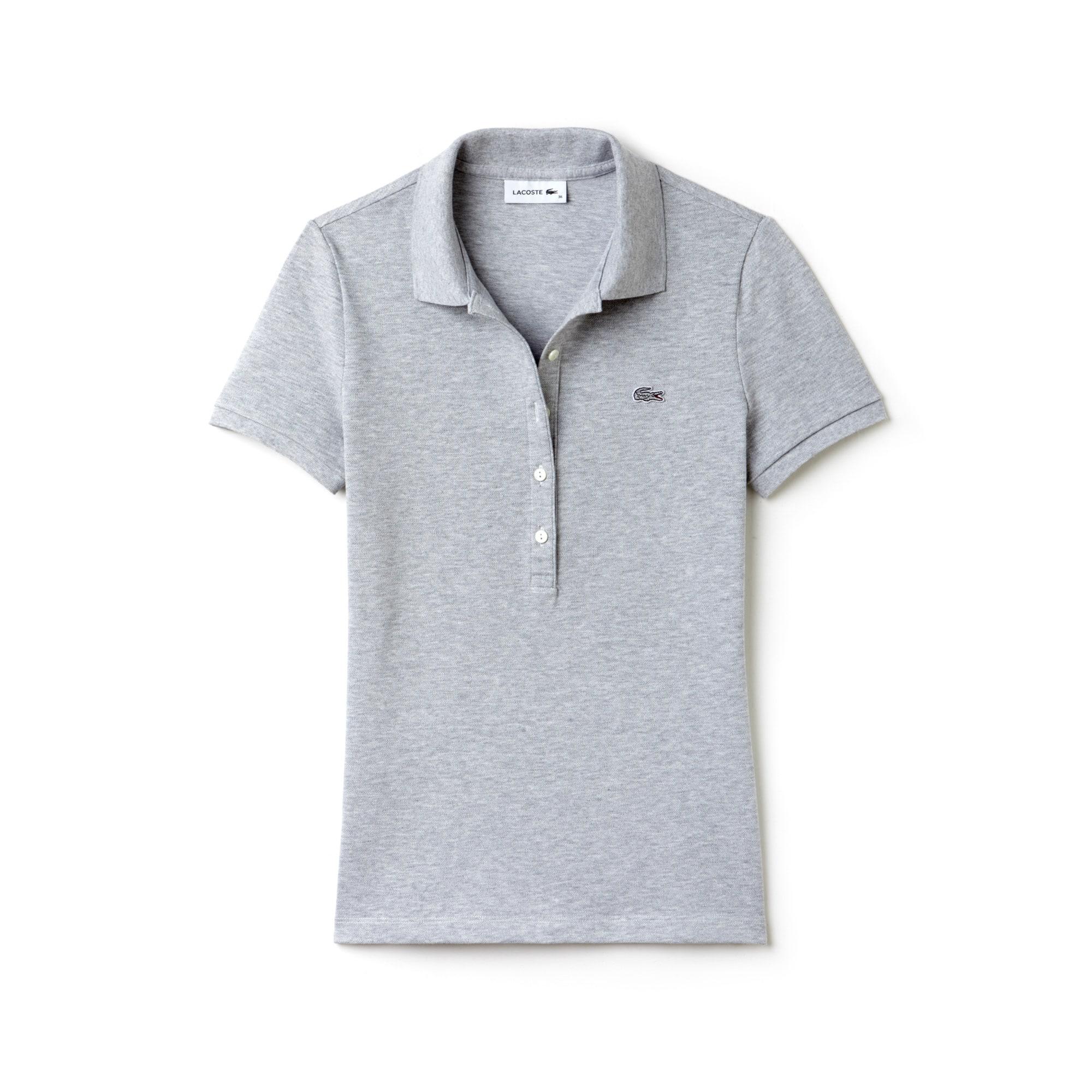 라코스테 Lacoste Womens Slim Fit Stretch Mini Cotton Pique Polo Shirt,grey chine