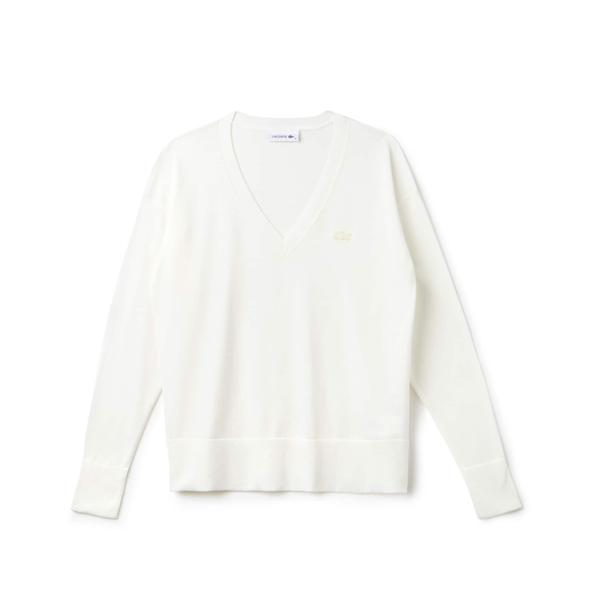 Women's V-neck Cotton Jersey Sweater