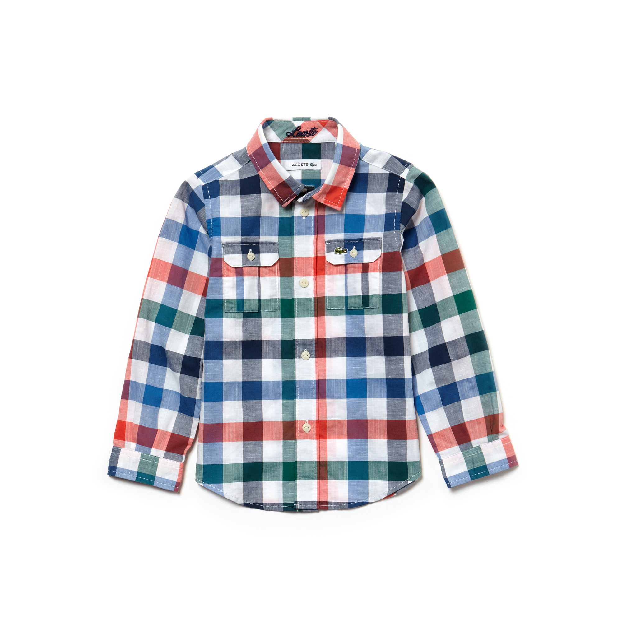 Boys' Check Cotton And Linen Poplin Shirt