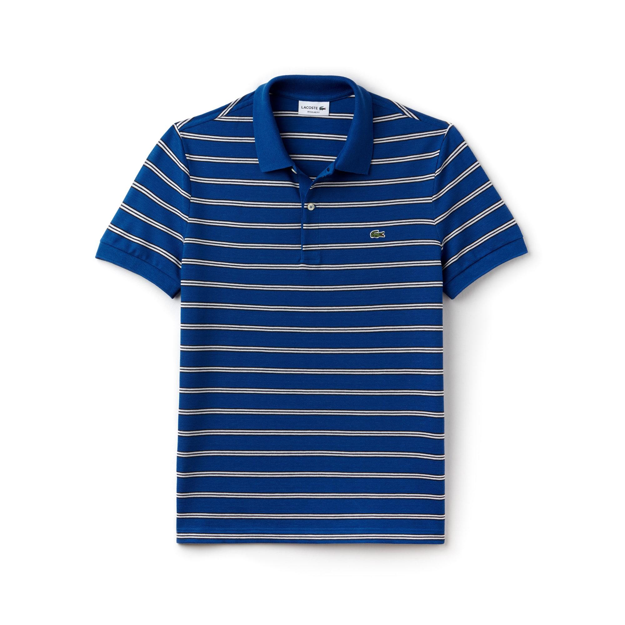 Men's Regular Fit Striped Piqué Polo