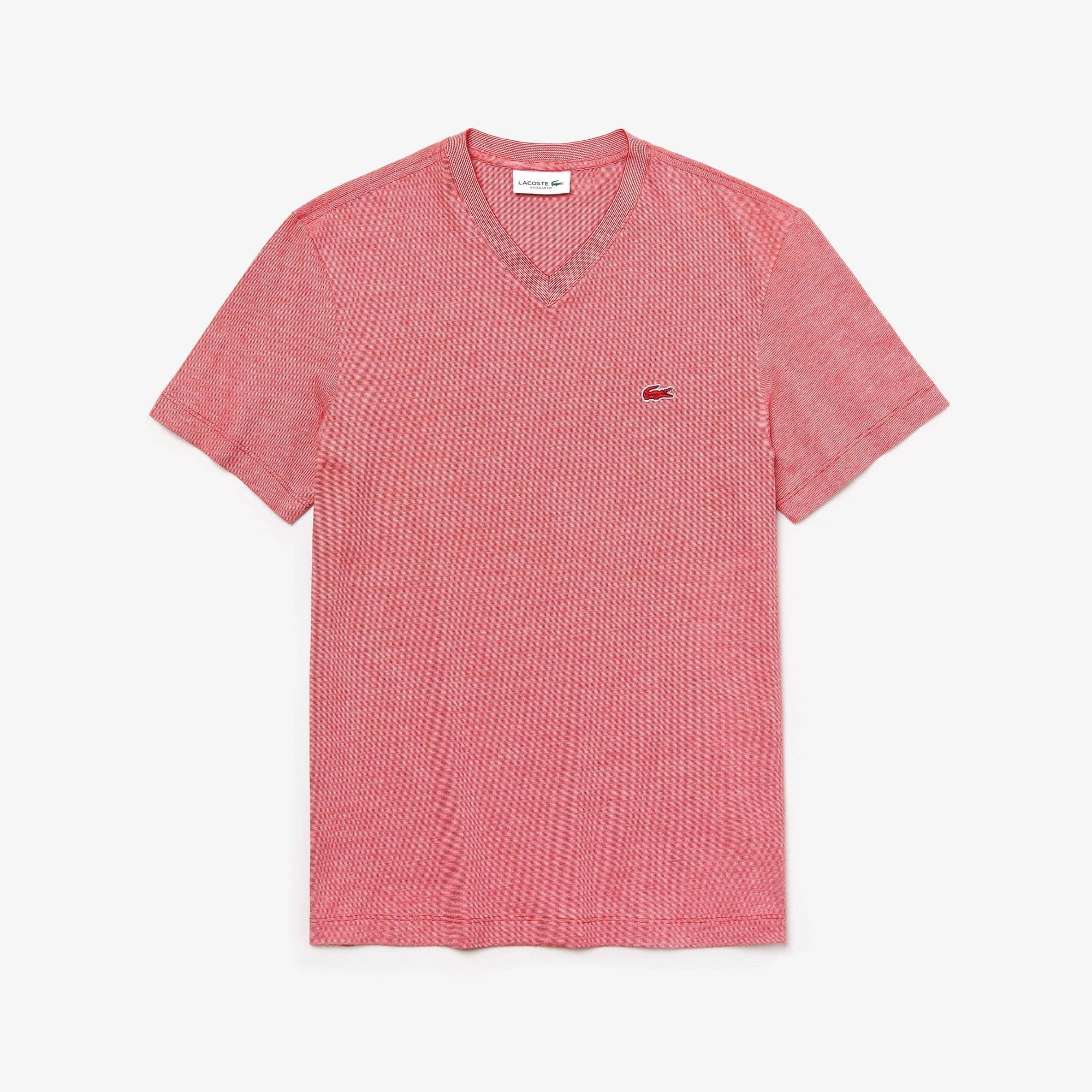 라코스테 브이넥 반팔 티셔츠 Lacoste Mens V-Neck Cotton T-shirt,Red / White