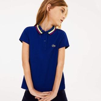 라코스테 키즈 폴로 반팔티 Lacoste Girls A-Line Cotton Pique Polo,Navy Blue