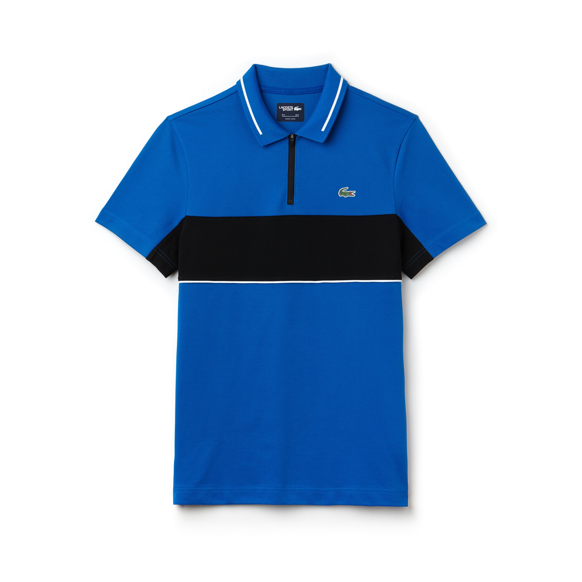 라코스테 Lacoste Mens SPORT Contrast Bands Technical Pique Golf Polo,blue royal/black-white