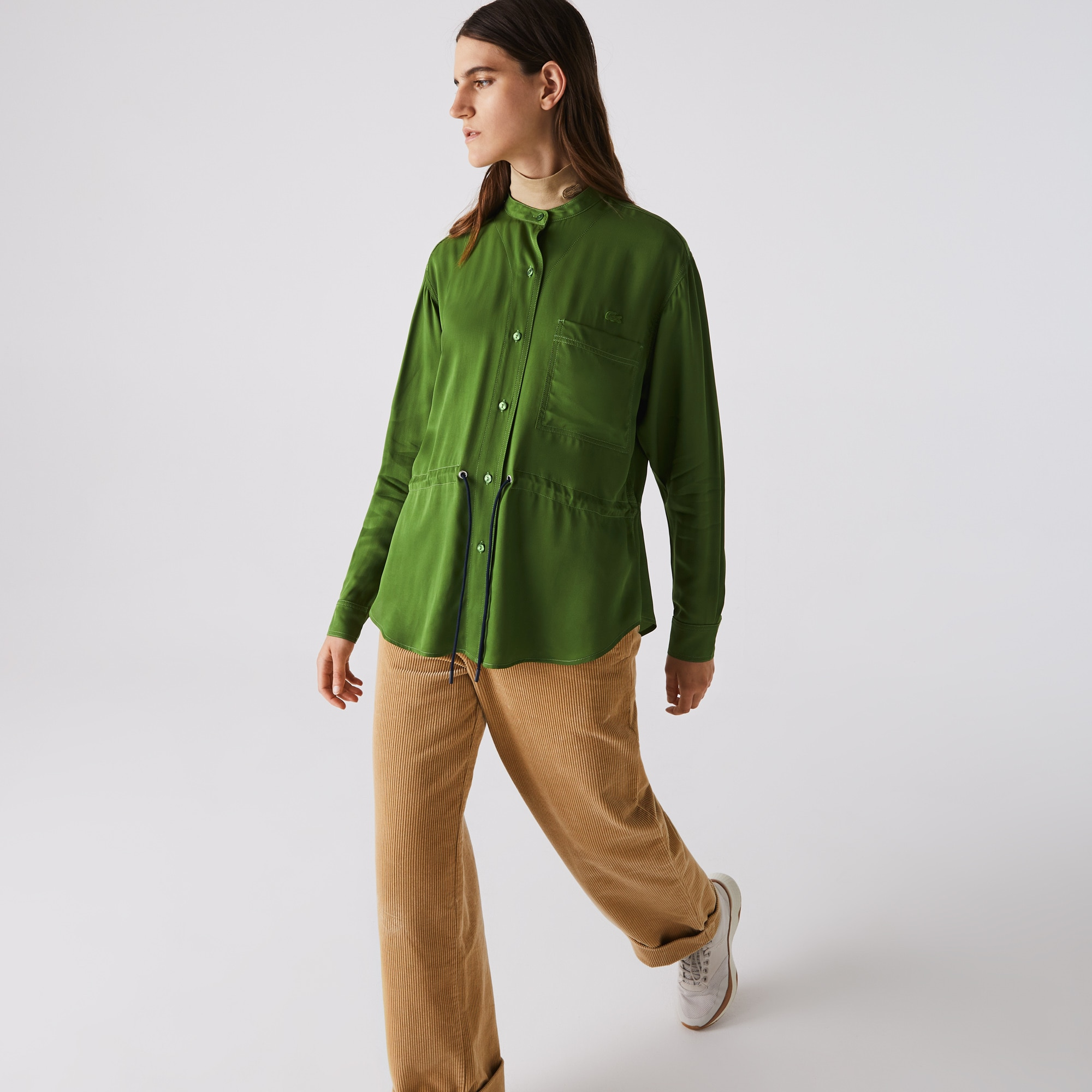 Lacoste Womens Relaxed Fit Adjustable Waist Flowy Mao Collar Shirt