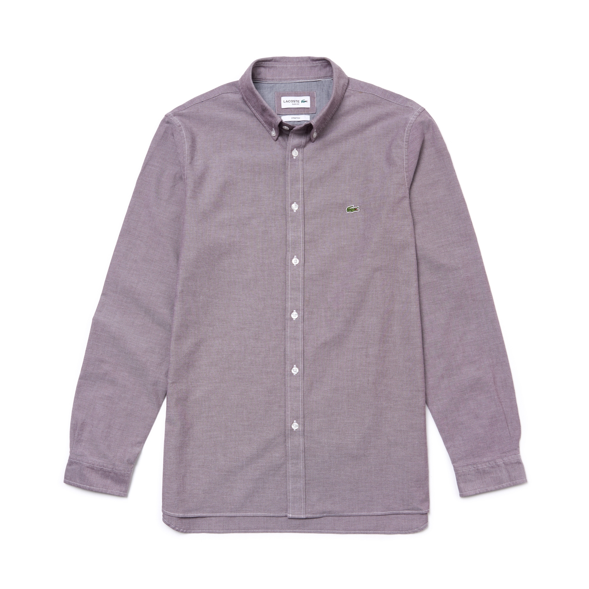 라코스테 Lacoste Mens Slim Fit Stretch Oxford Cotton Shirt,brown