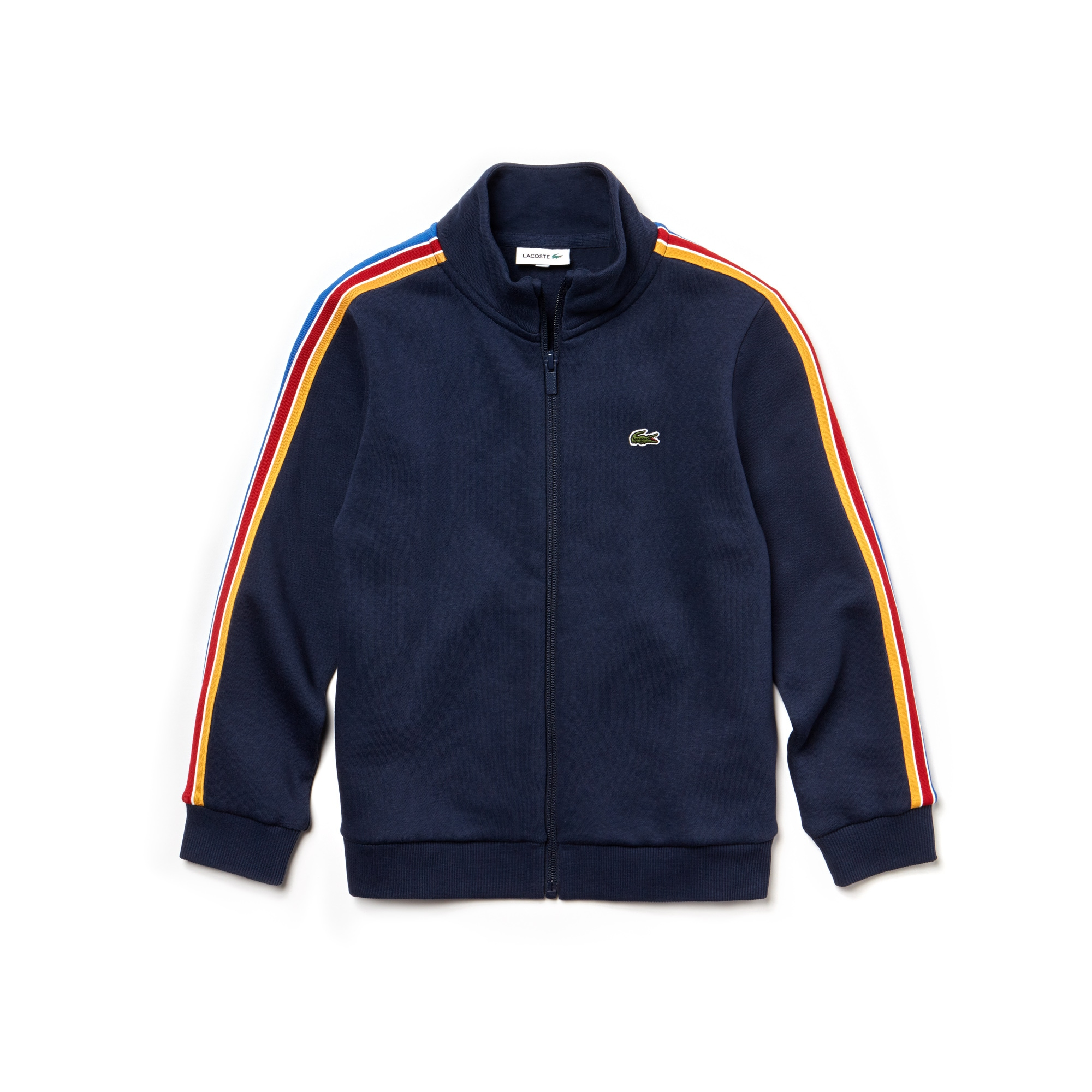 Boys' Stand-Up Collar Colored Bands Zippered Fleece Sweatshirt