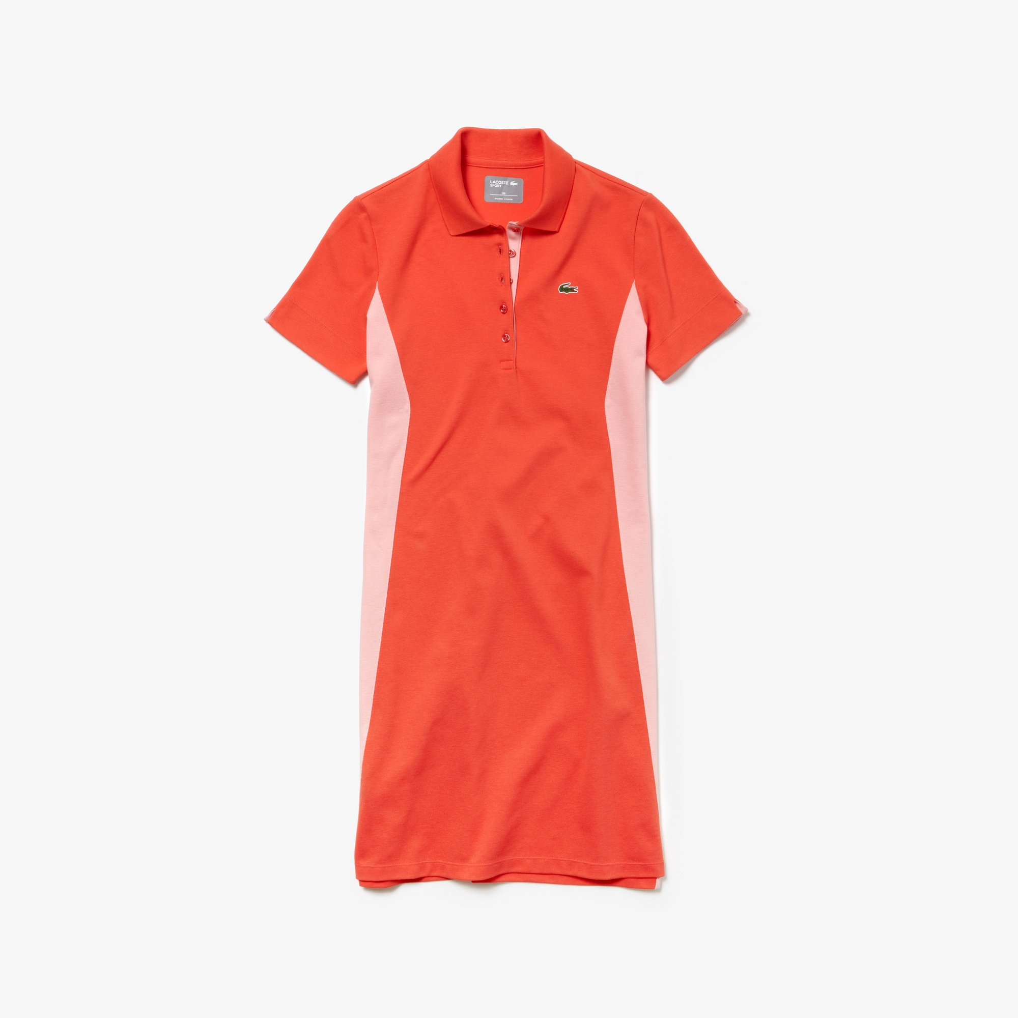 라코스테 Lacoste Womens SPORT Mini Pique Golf Polo Dress,Red / Pink