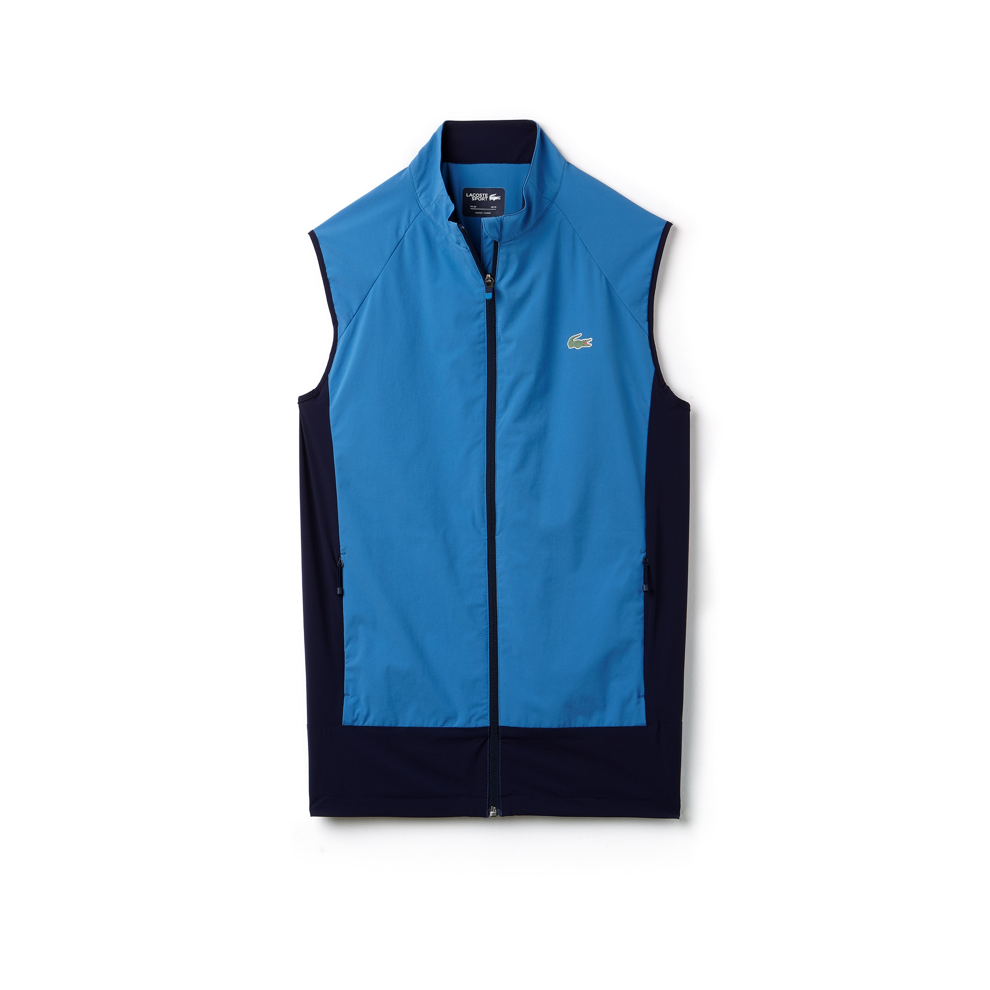 라코스테 Lacoste Mens SPORT Colorblock Technical Taffeta Golf Quilted Vest,blue / navy blue