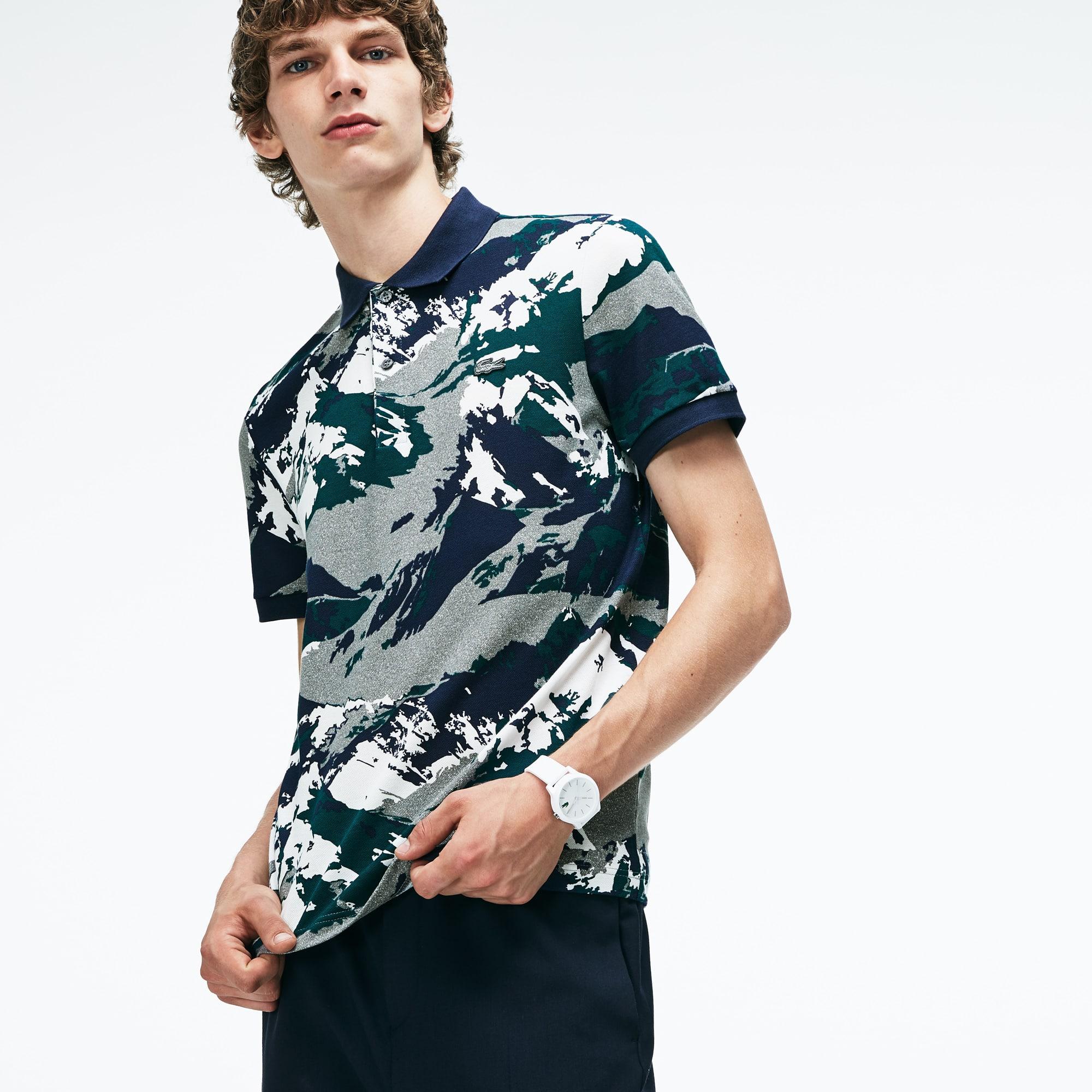 Men's Lacoste Regular Fit Mountain Print Mini Piqué Polo