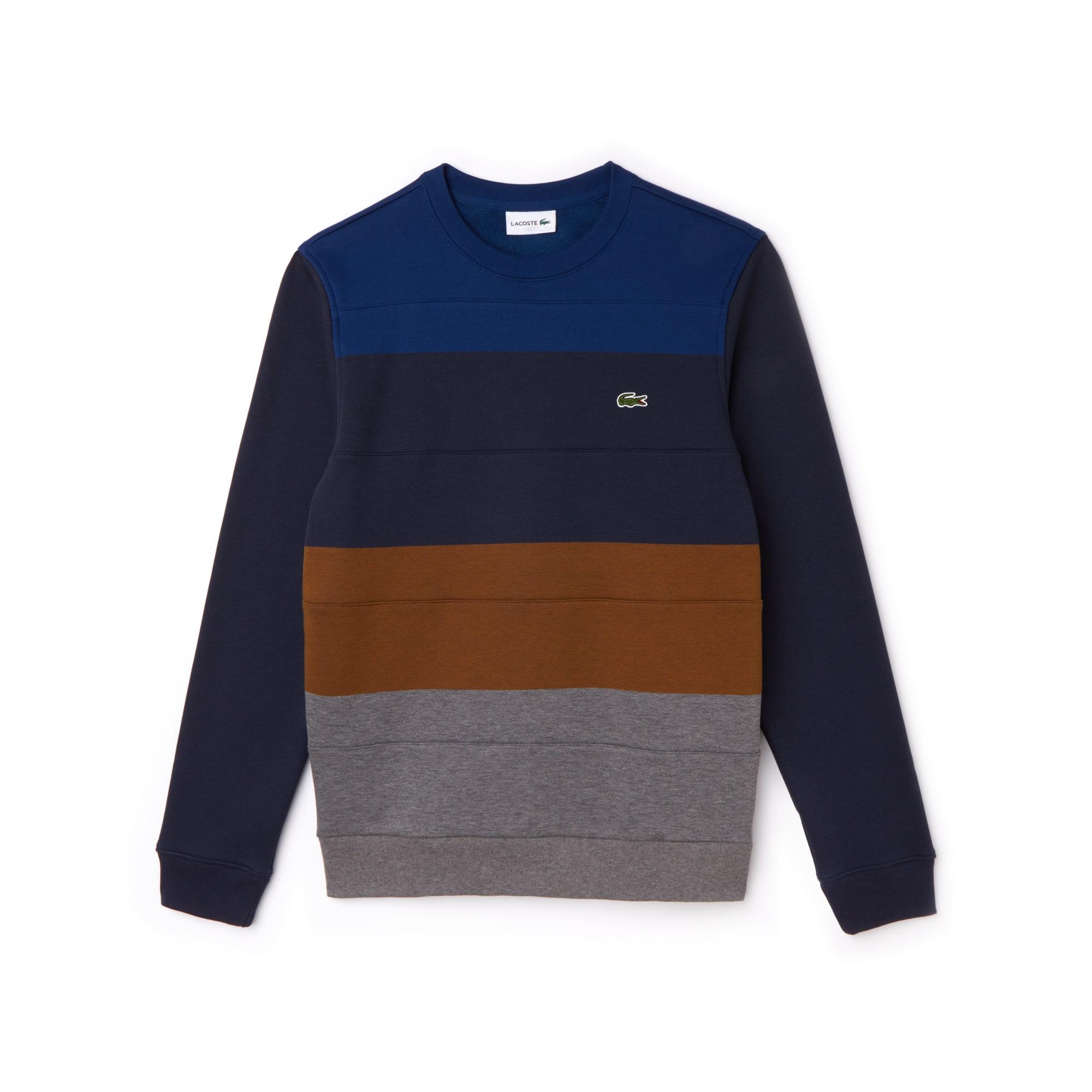 라코스테 Lacoste Mens Crew Neck Colorblock Fleece Sweatshirt,stone chine/dark renaissa