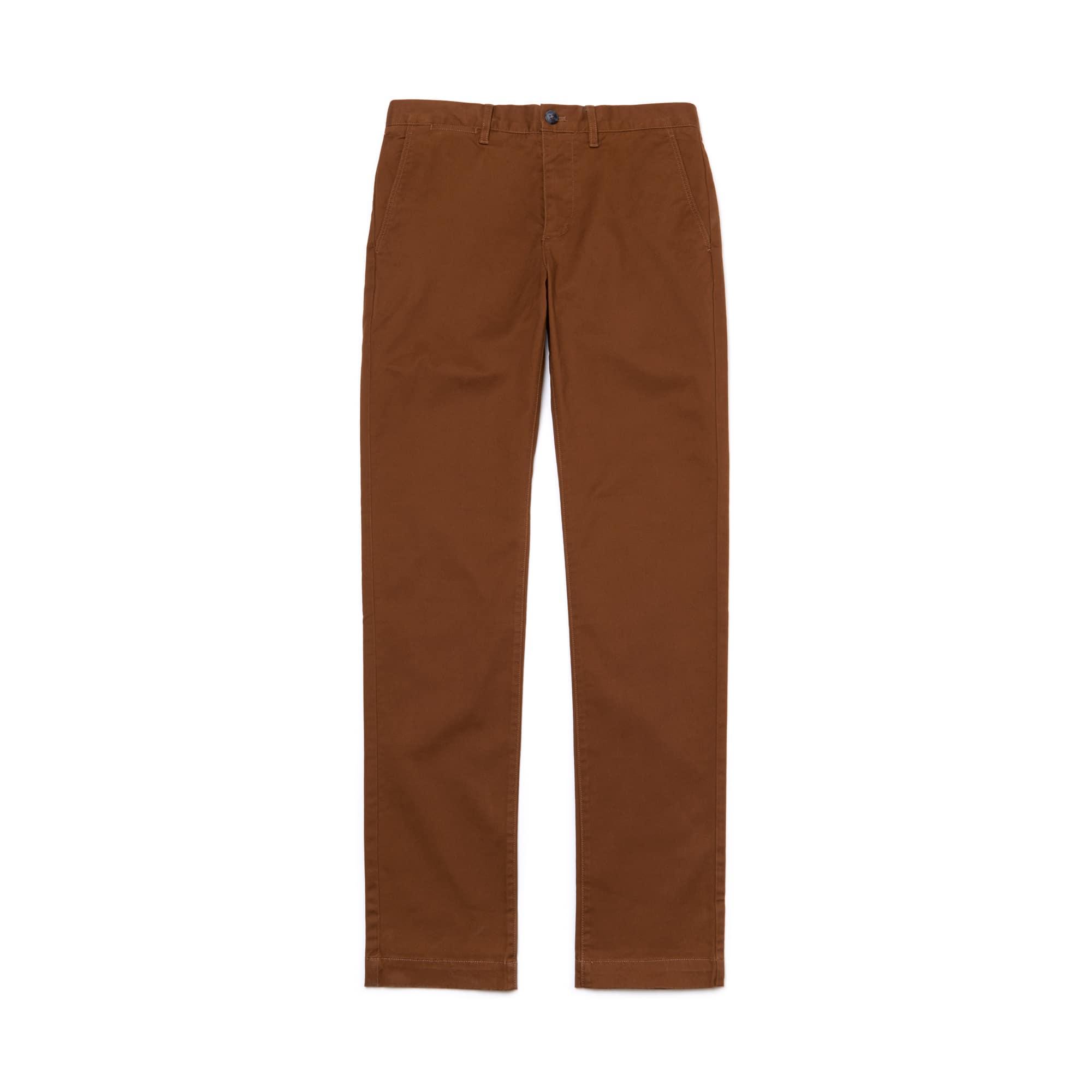 라코스테 Lacoste Mens Regular Fit Cotton Gabardine Chino Pants,brown