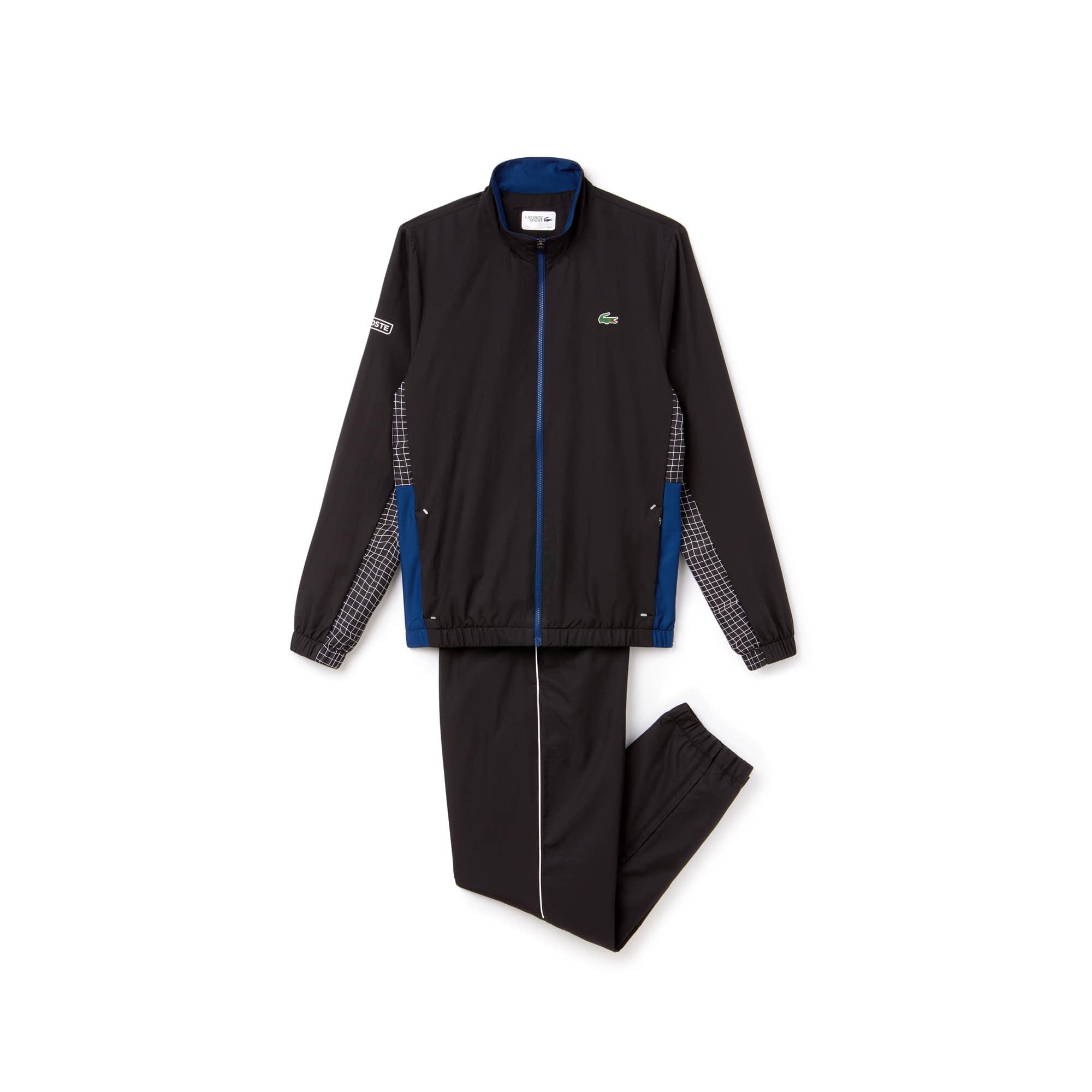 라코스테 Lacoste Mens SPORT Piped Taffeta Tennis Tracksuit,black / navy blue / white / black