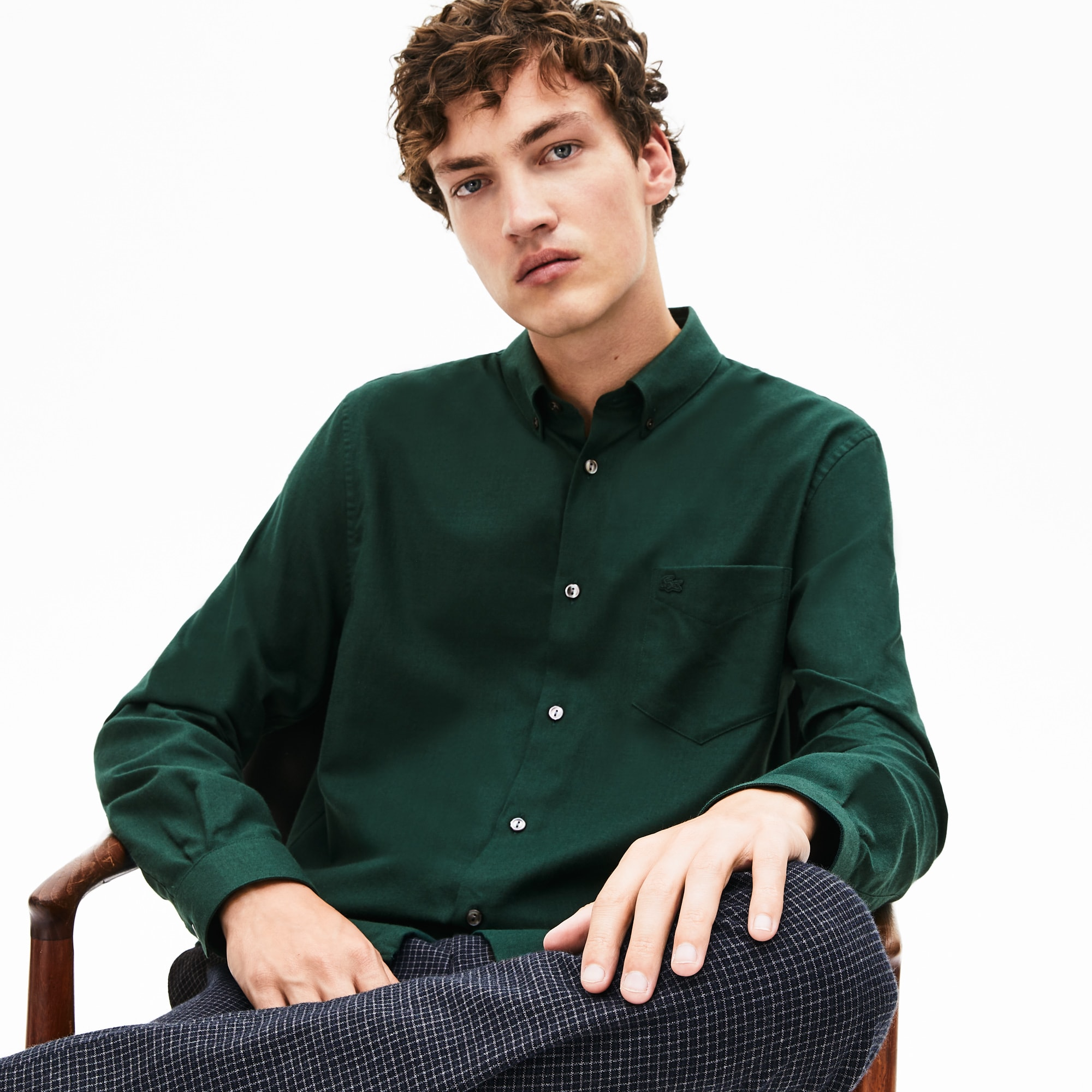 Lacoste Tops Men's Regular Fit Mother-Of-Pearl Buttoned Wool Blend Shirt