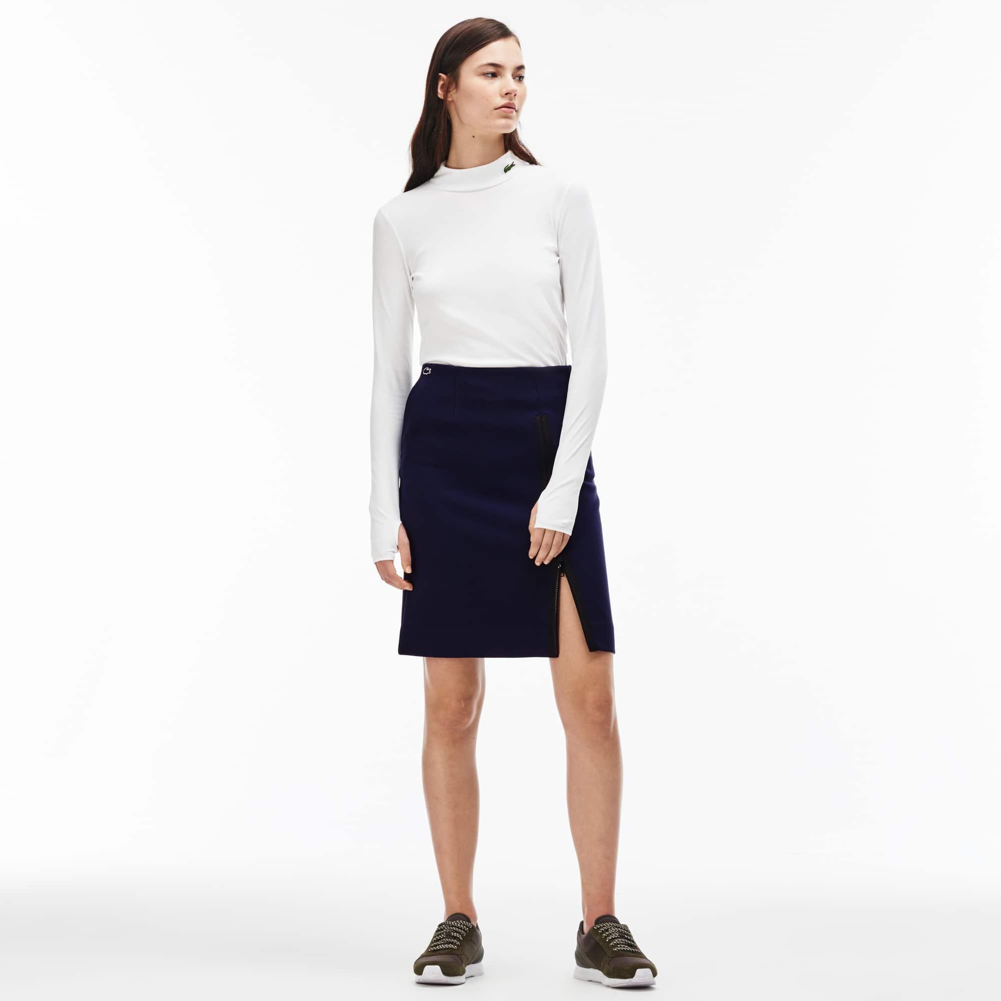 Women's  LIVE Zippered Split Stretch Fabric Skirt