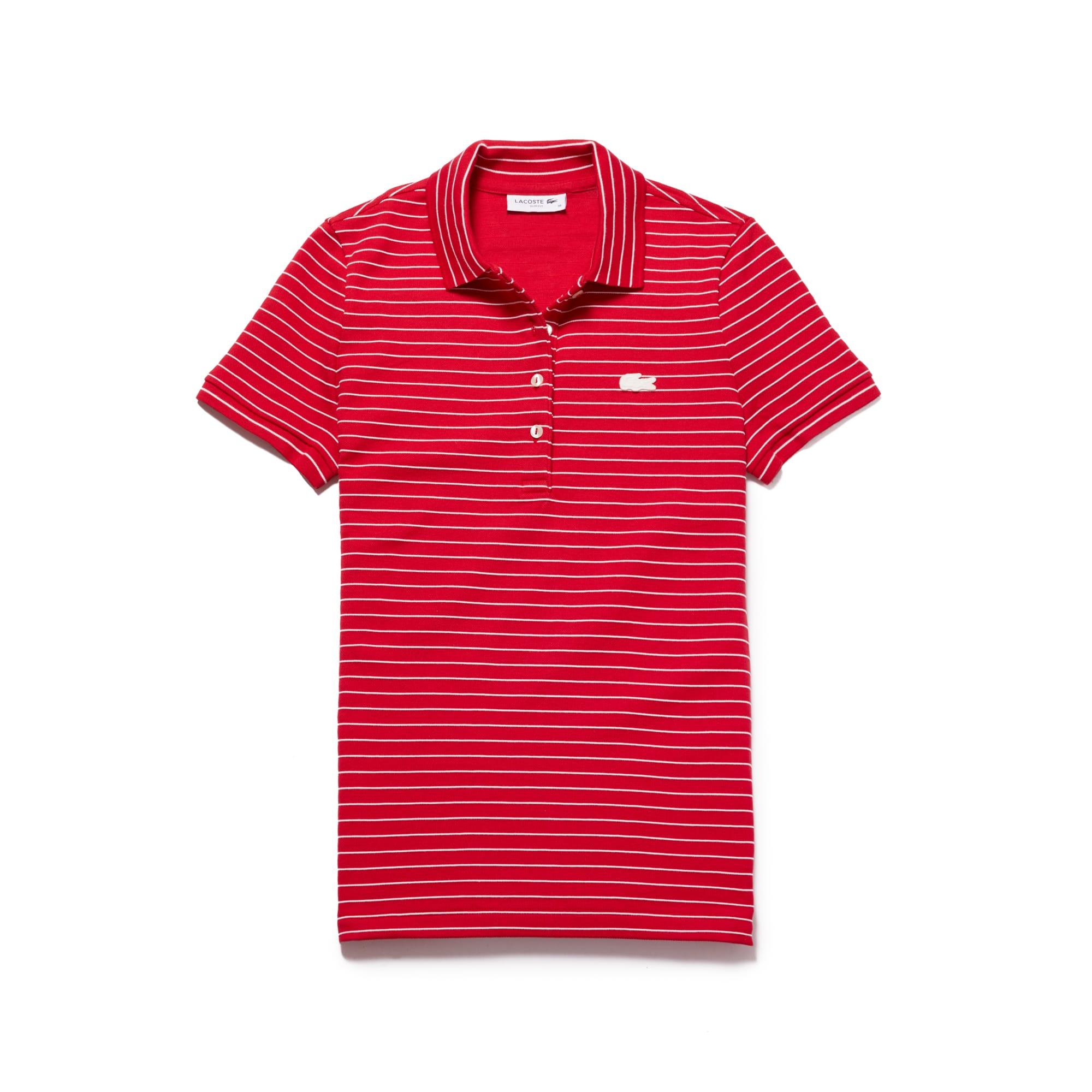 라코스테 반팔 카라티 Lacoste Womens Slim Fit Striped Stretch Cotton Mini Pique Polo,imperial red/flour