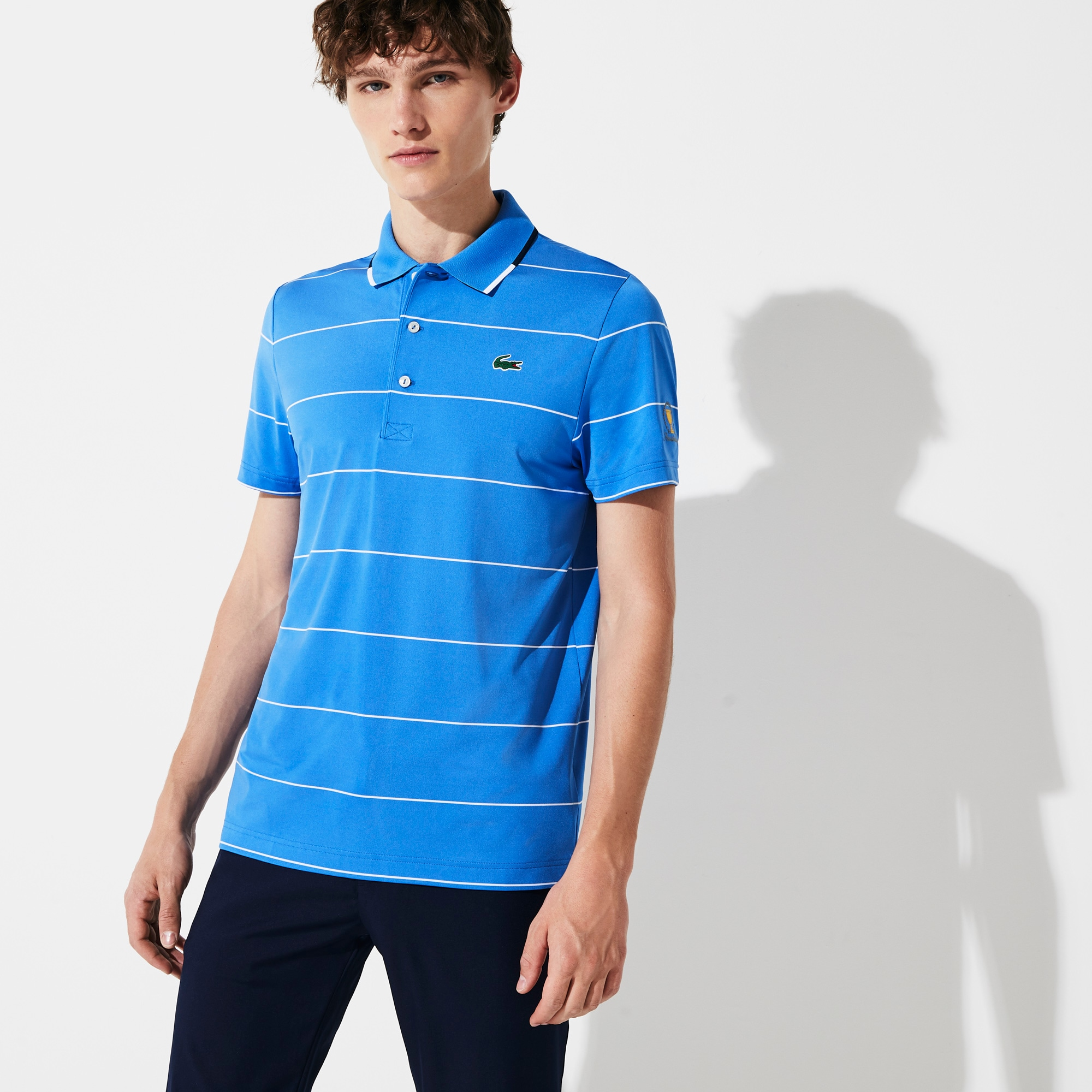 Lacoste Shirts Men's Presidents Cup Striped Breathable Stretch Jersey Golf Polo Shirt