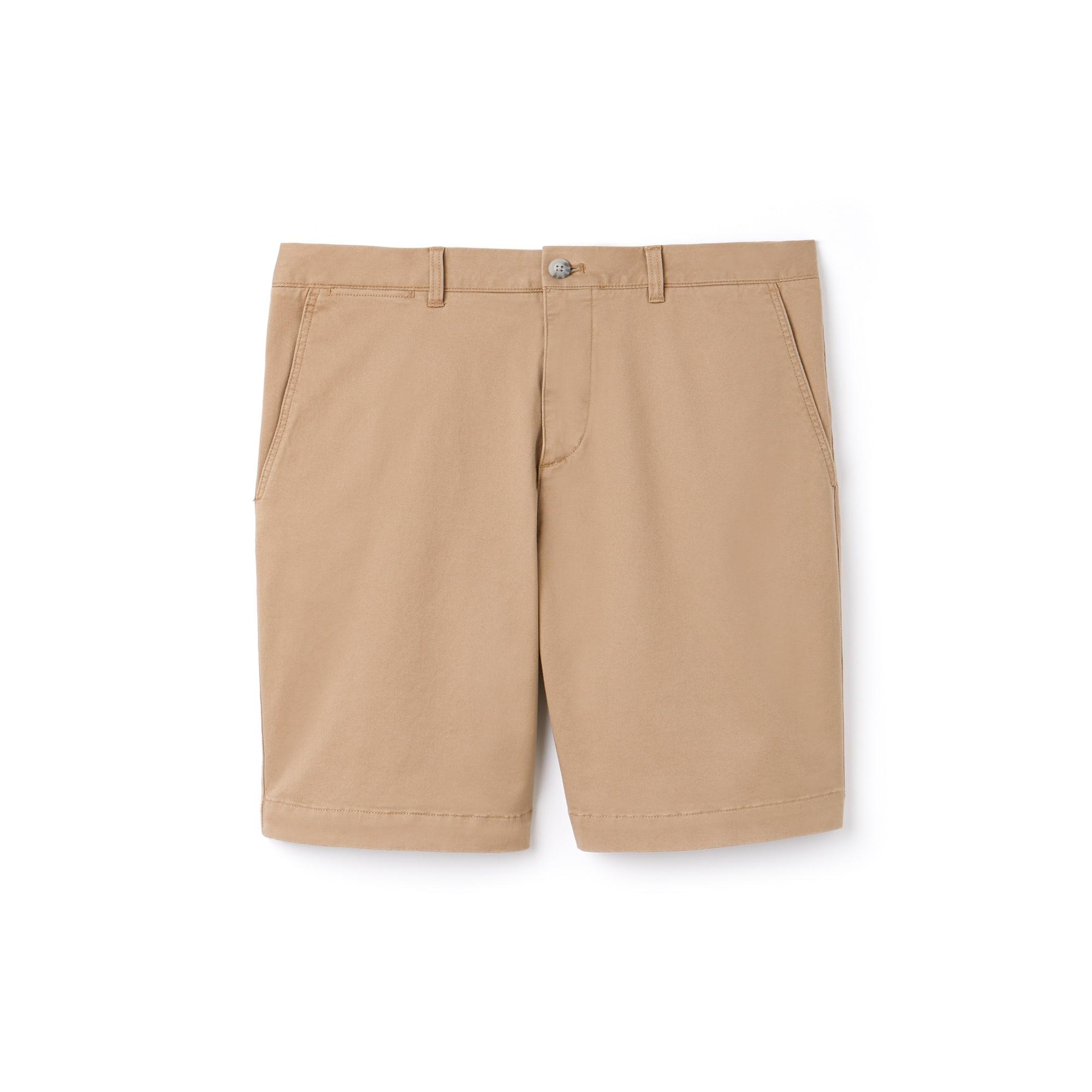 라코스테 Lacoste Mens Regular Fit Cotton Gabardine Bermuda Shorts,beige