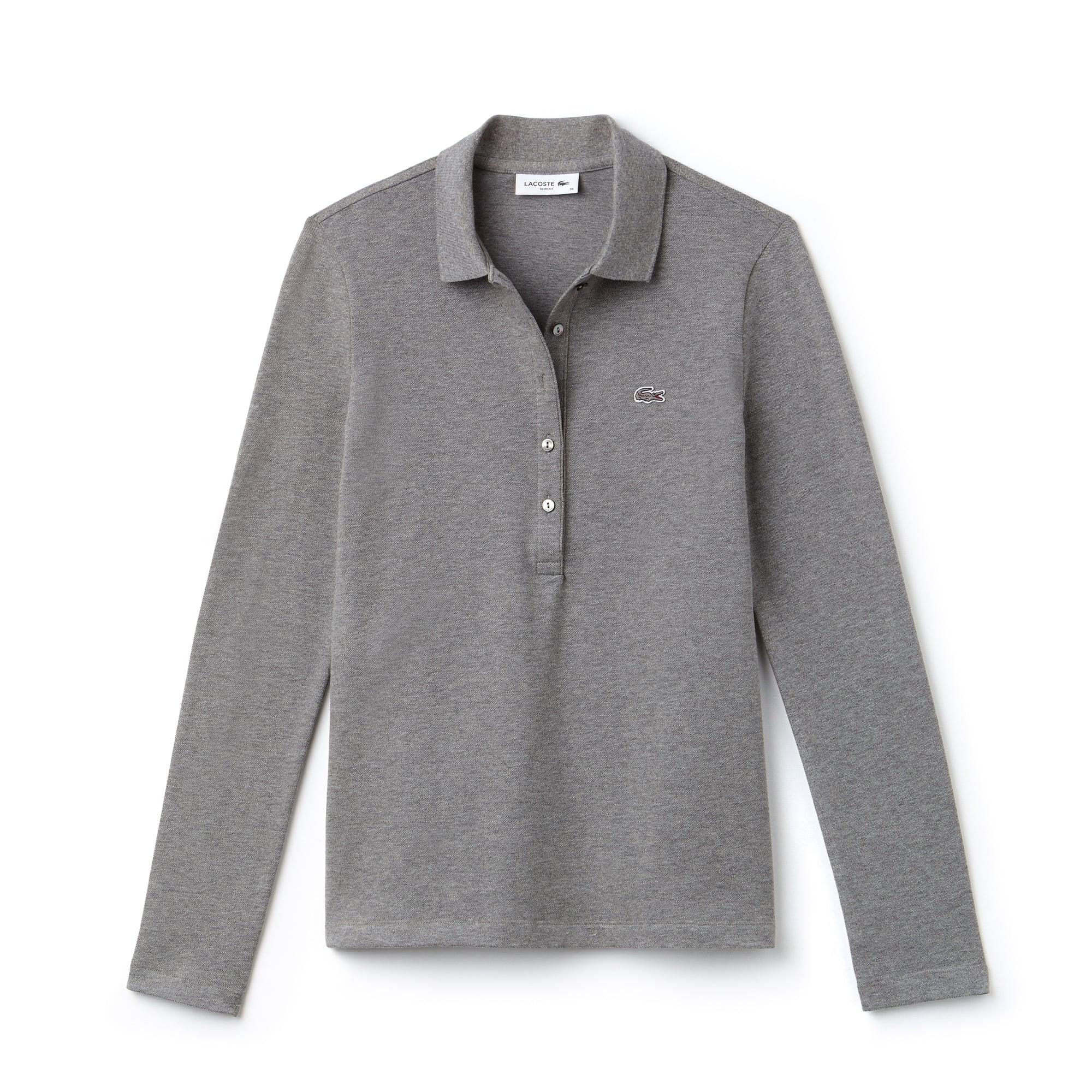 라코스테 긴팔 카라티 Lacoste Womens Slim Fit Stretch Mini Pique Polo Shirt,stone grey