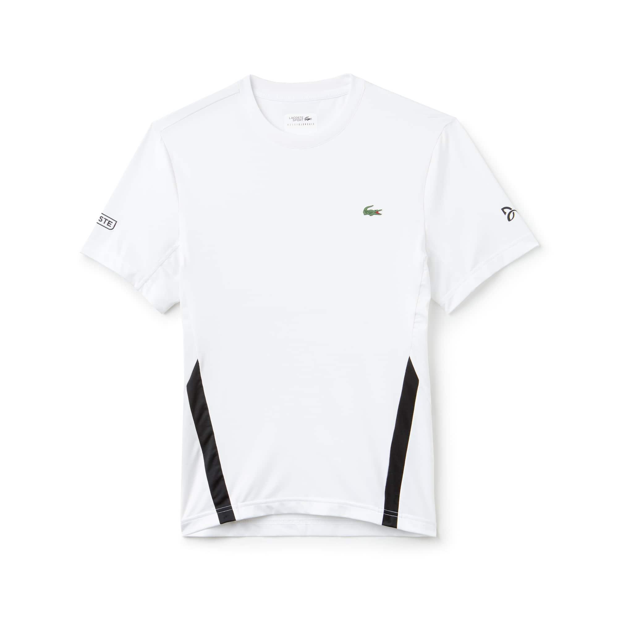 라코스테 Lacoste Mens SPORT Crew Neck Stretch Technical Jersey T-shirt - x Novak Djokovic Off Court Premium Edition,white / black