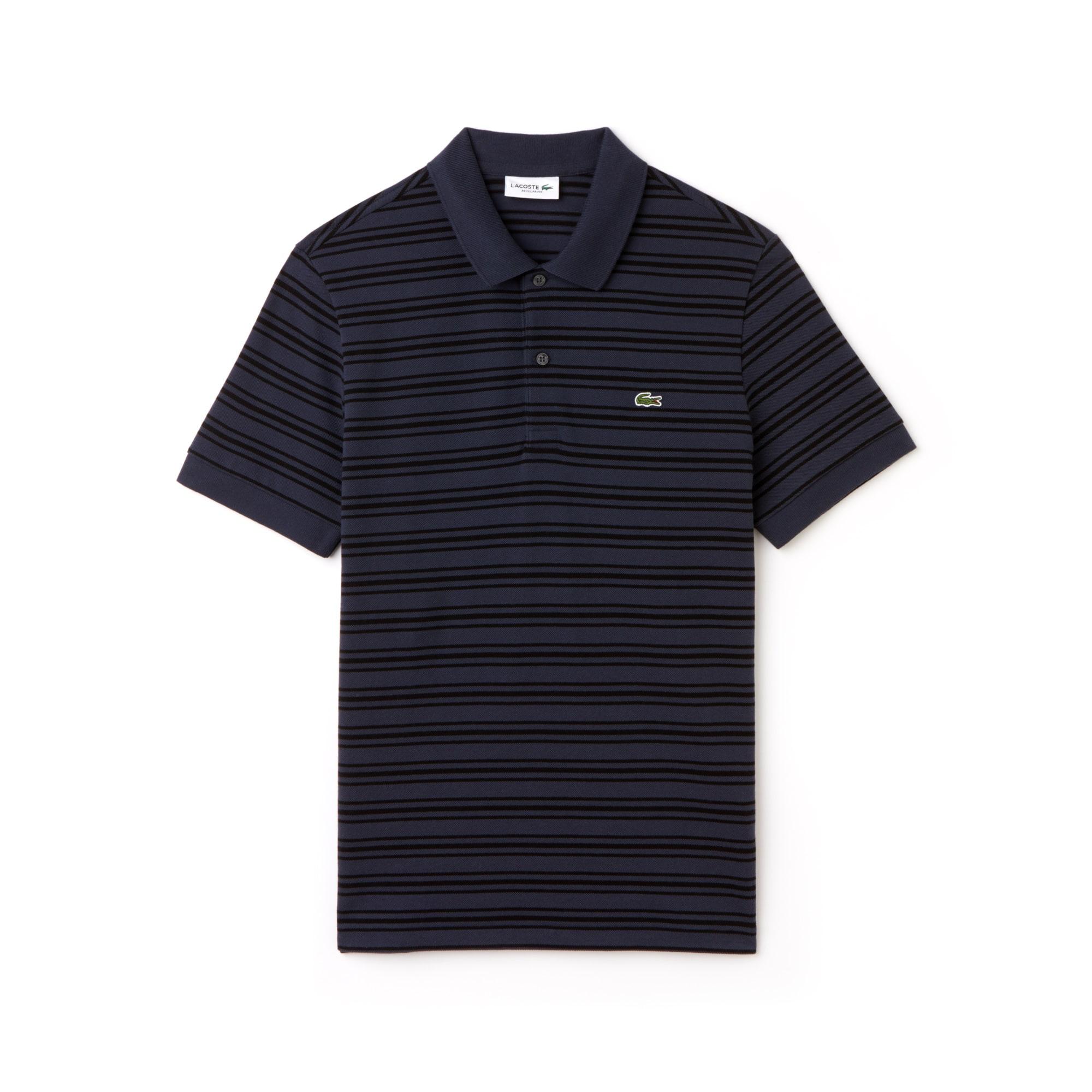 라코스테 Lacoste Mens Regular Fit Striped Cotton Petit Pique Polo,meridian blue/black