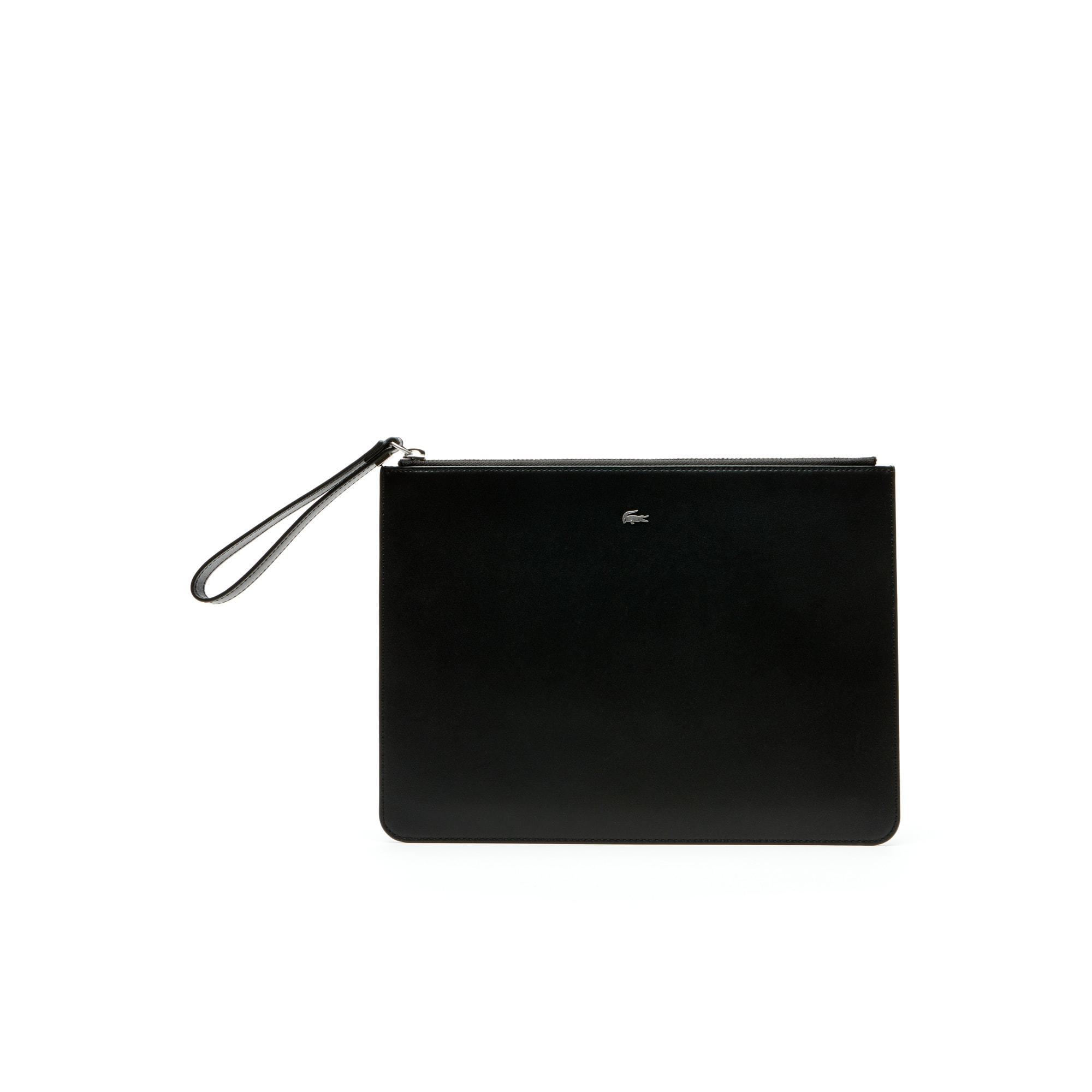 라코스테 클러치 Lacoste Mens Fitzgerald Colorblock Leather Zip Pouch,black breen