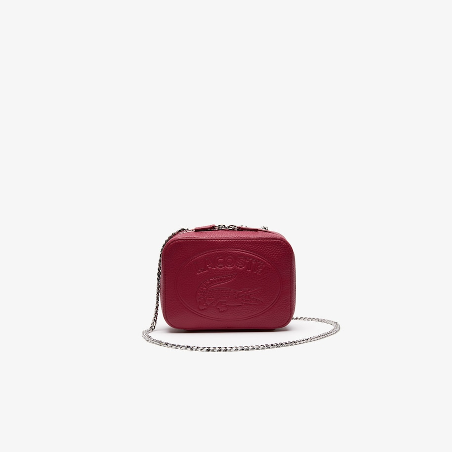 라코스테 악어 로고 체인 숄더백 - 상그리아 Lacoste Womens Croco Crew Grained Leather Zip Shoulder Bag,SANGRIA - C80