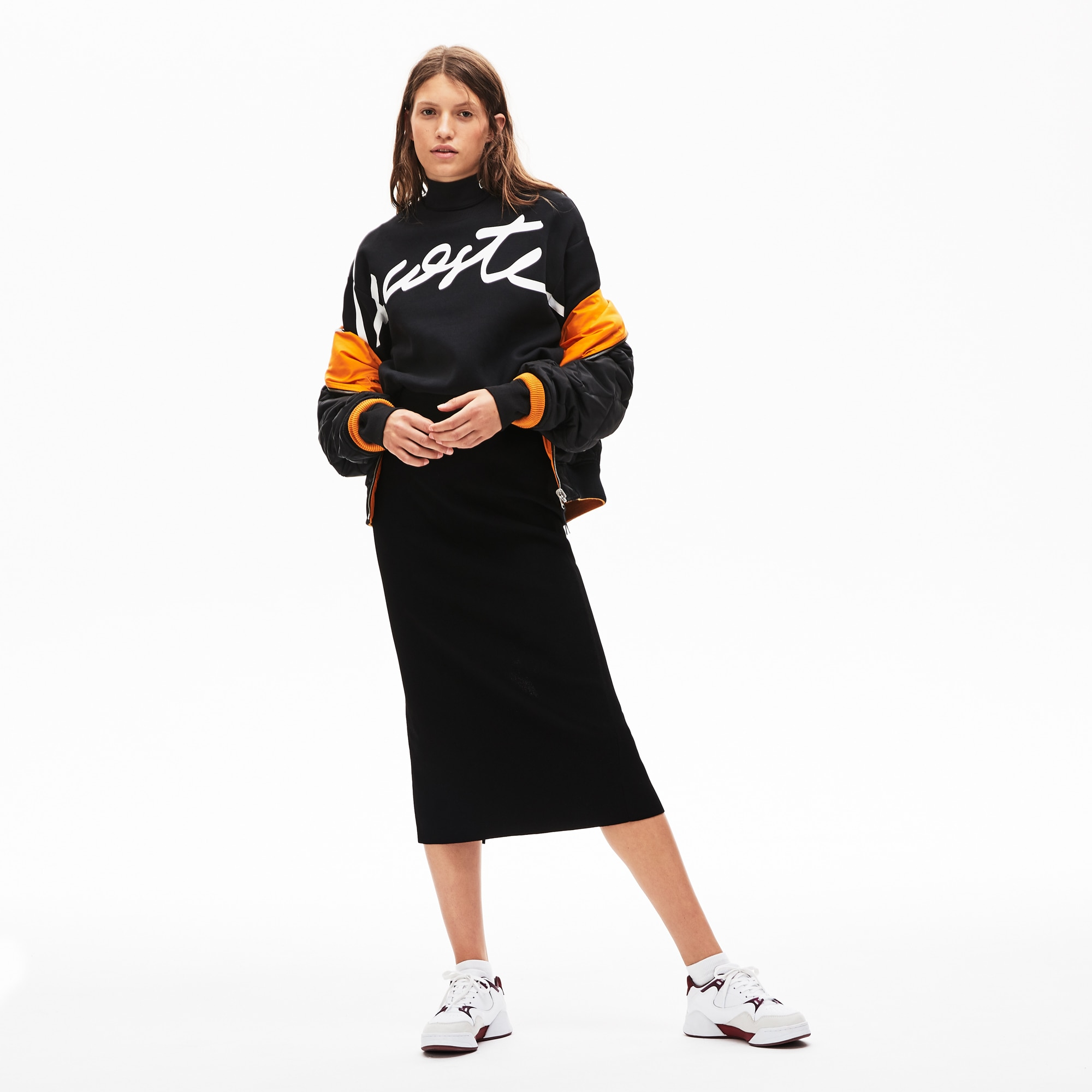 0ef524b91b Women's Lacoste LIVE Contrast Side Bands Knit Tube Skirt