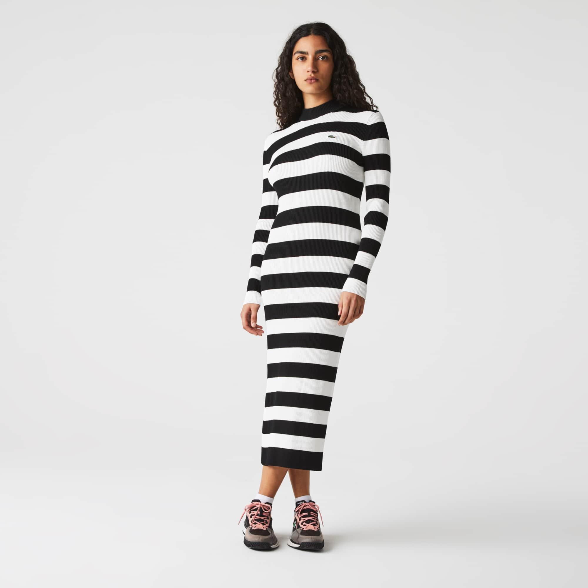 라코스테 라이브 스웨터 원피스 Lacoste Womens LIVE Ribbed Long Sweater Dress,Black / White 9M0
