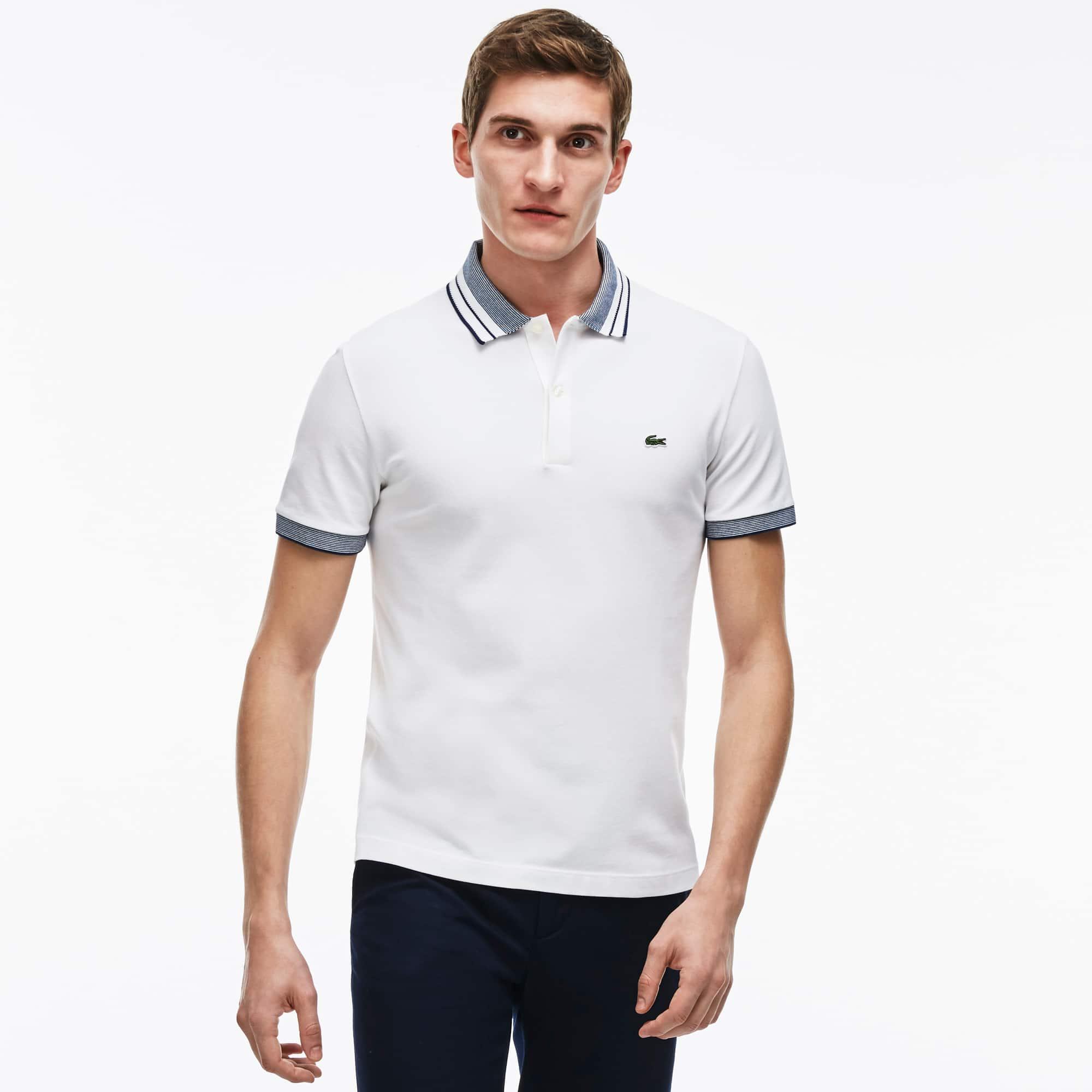 Men's Fine Striped Cotton Rib Polo Shirt