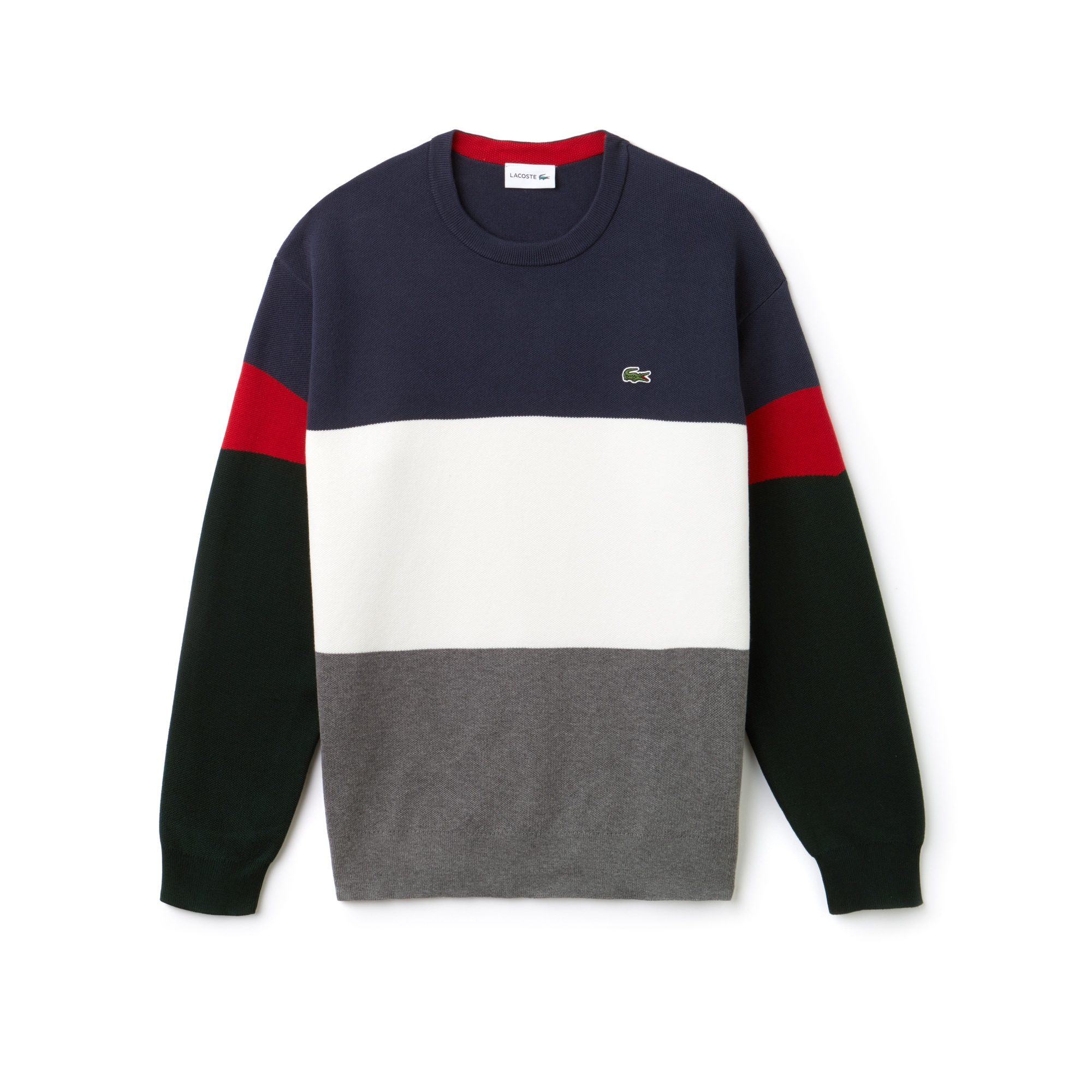 802ff4df76a Men's Crew Neck Colorblock Flat Ribbed Cotton Sweater