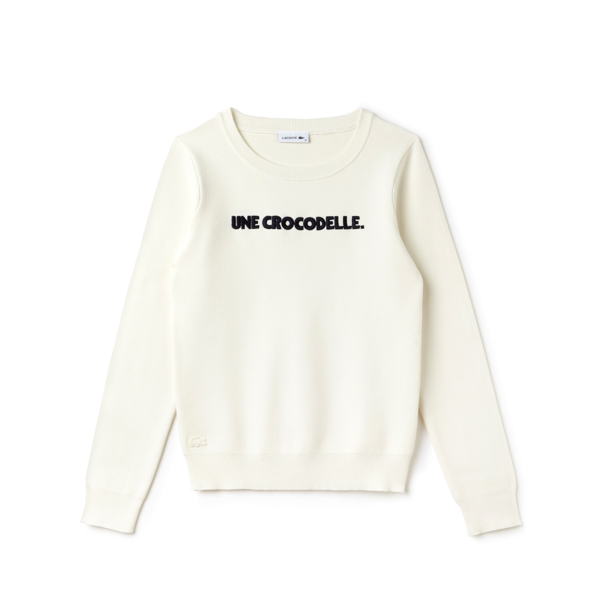 Women's Crew Neck Une Crocodelle Embroidery Interlock Sweater