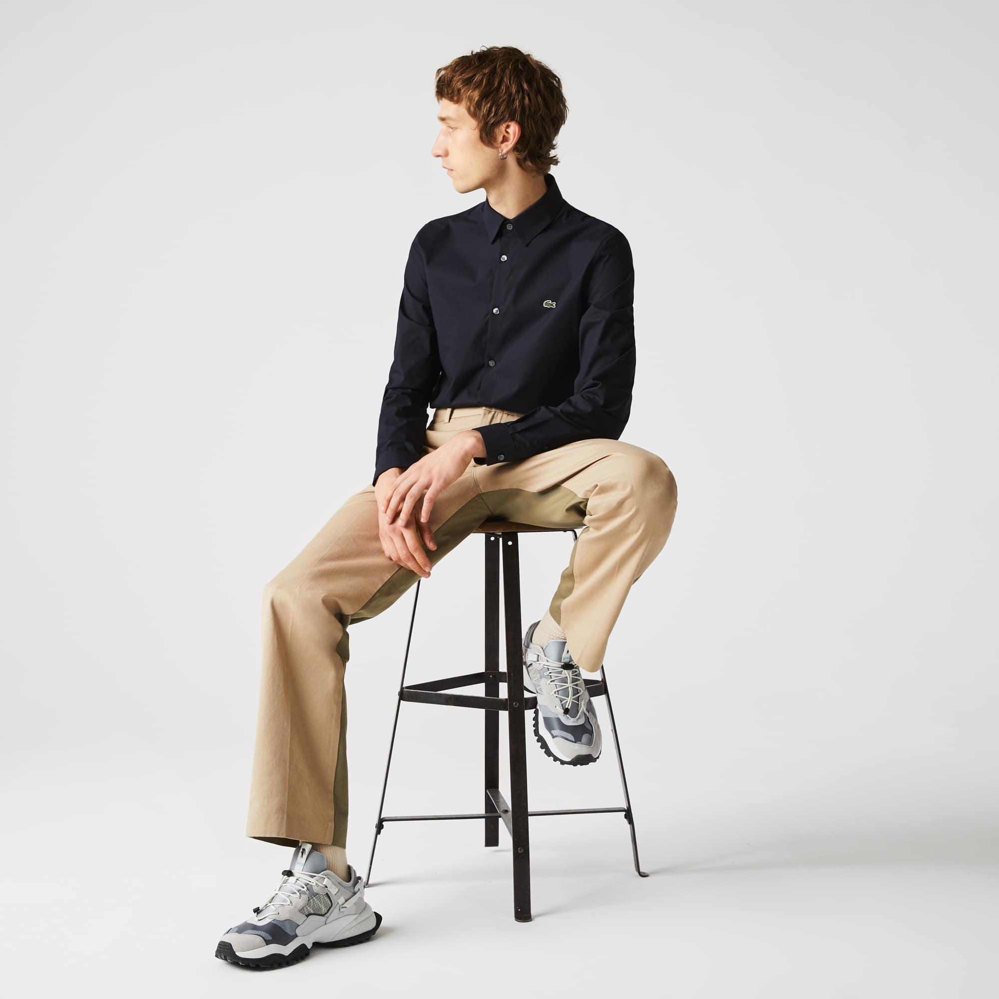 라코스테 Lacoste Mens Slim Fit Stretch Cotton Poplin Shirt