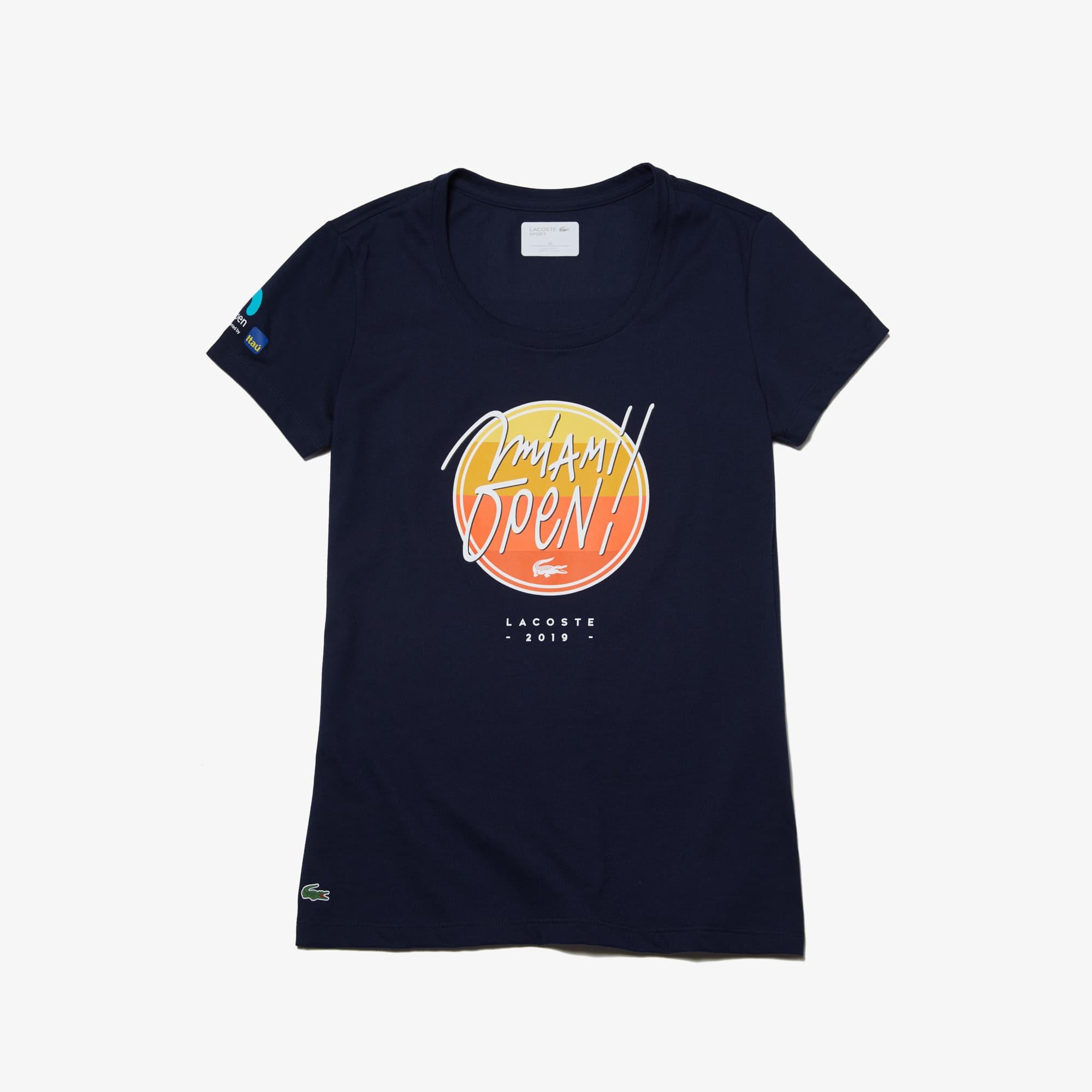 라코스테 우먼 스포츠 테니스 반팔 티셔츠, 마이애미 오픈 에디션 Lacoste Womens SPORT Miami Open Edition T-shirt,Navy Blue