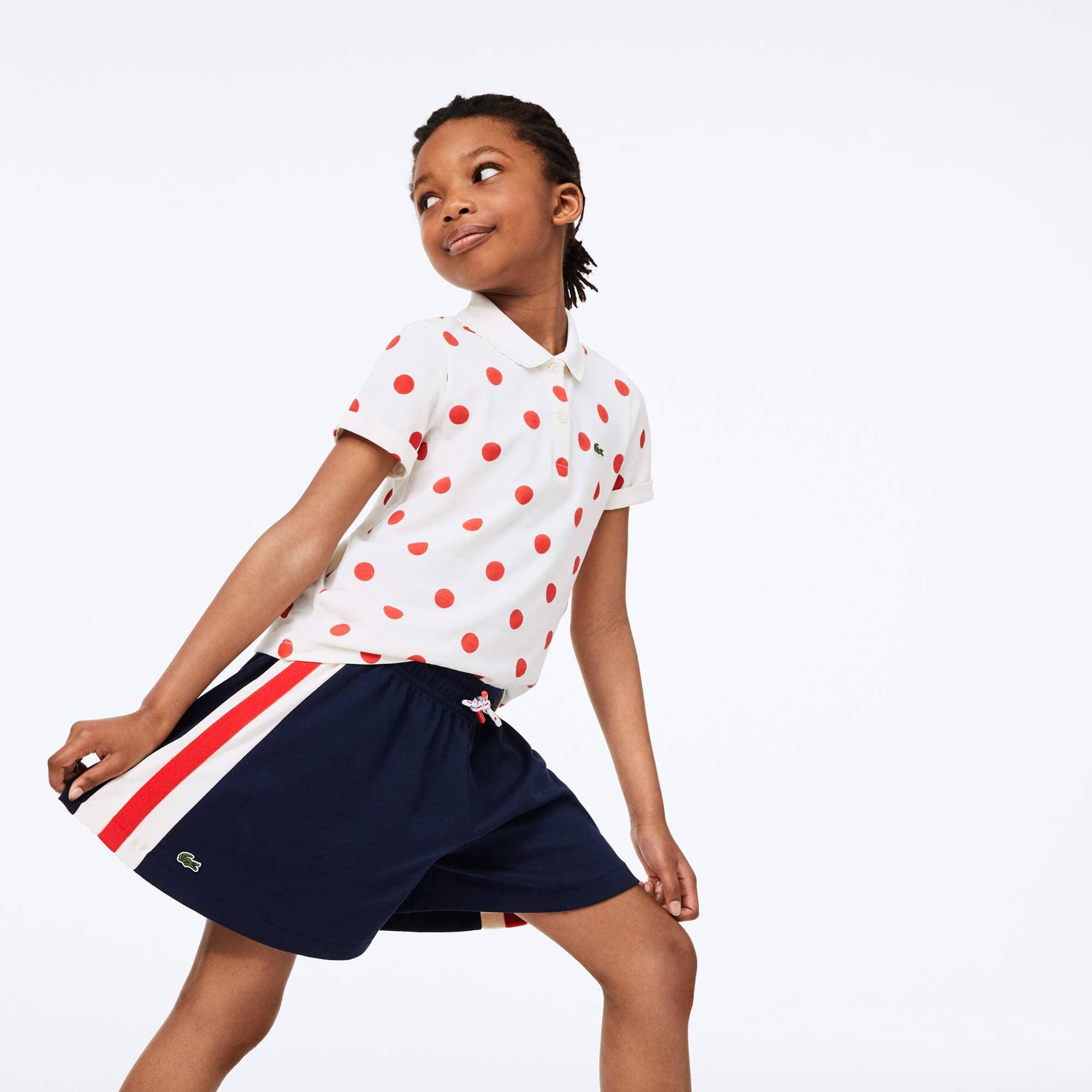 라코스테 Lacoste Girls' Cotton Striped Shorts,Navy Blue / White / Red • X5U