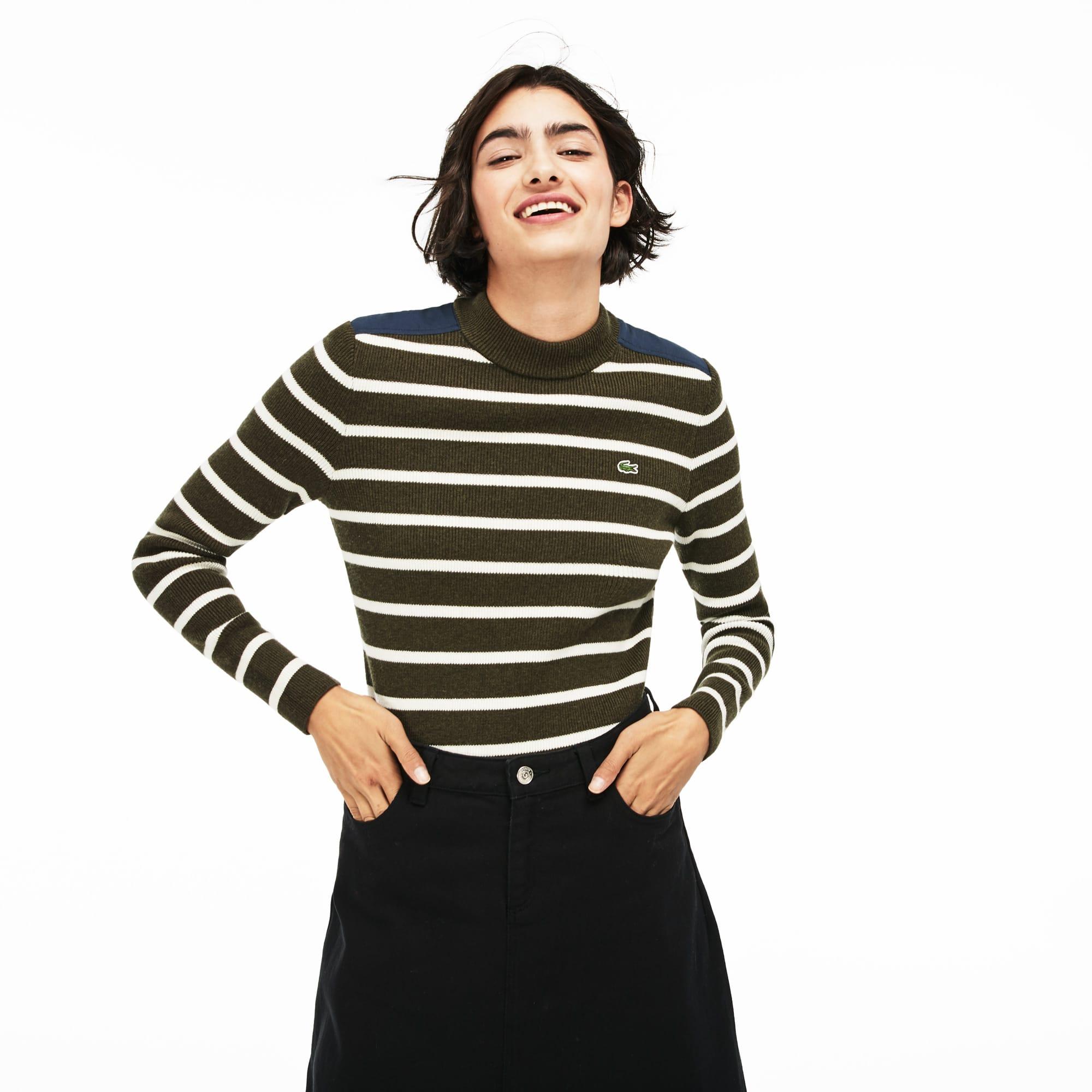 Women's LIVE Crew Neck Striped Interlock Sweater