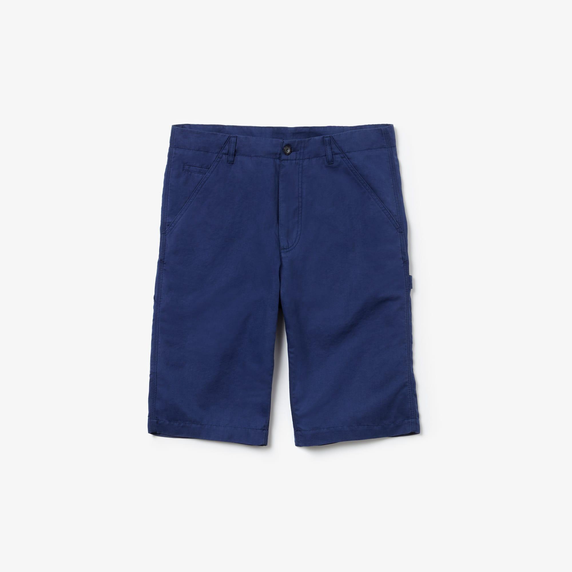라코스테 Lacoste Mens Regular Fit Cotton And Linen Long Bermuda Shorts,Navy Blue